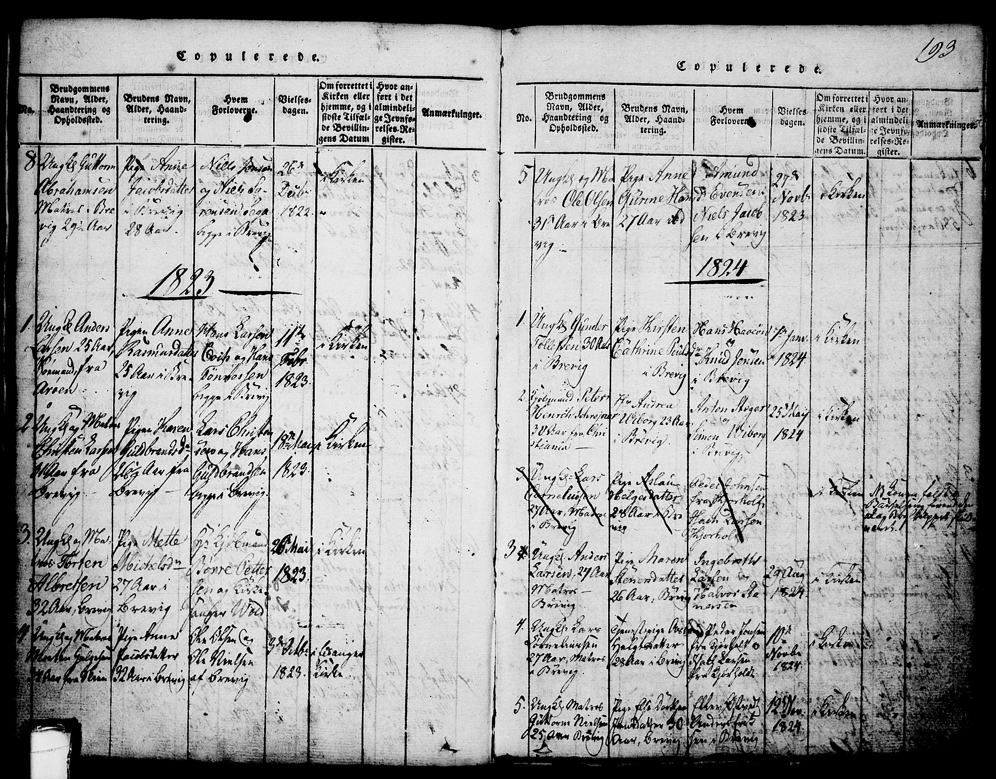 SAKO, Brevik kirkebøker, G/Ga/L0001: Klokkerbok nr. 1, 1814-1845, s. 193
