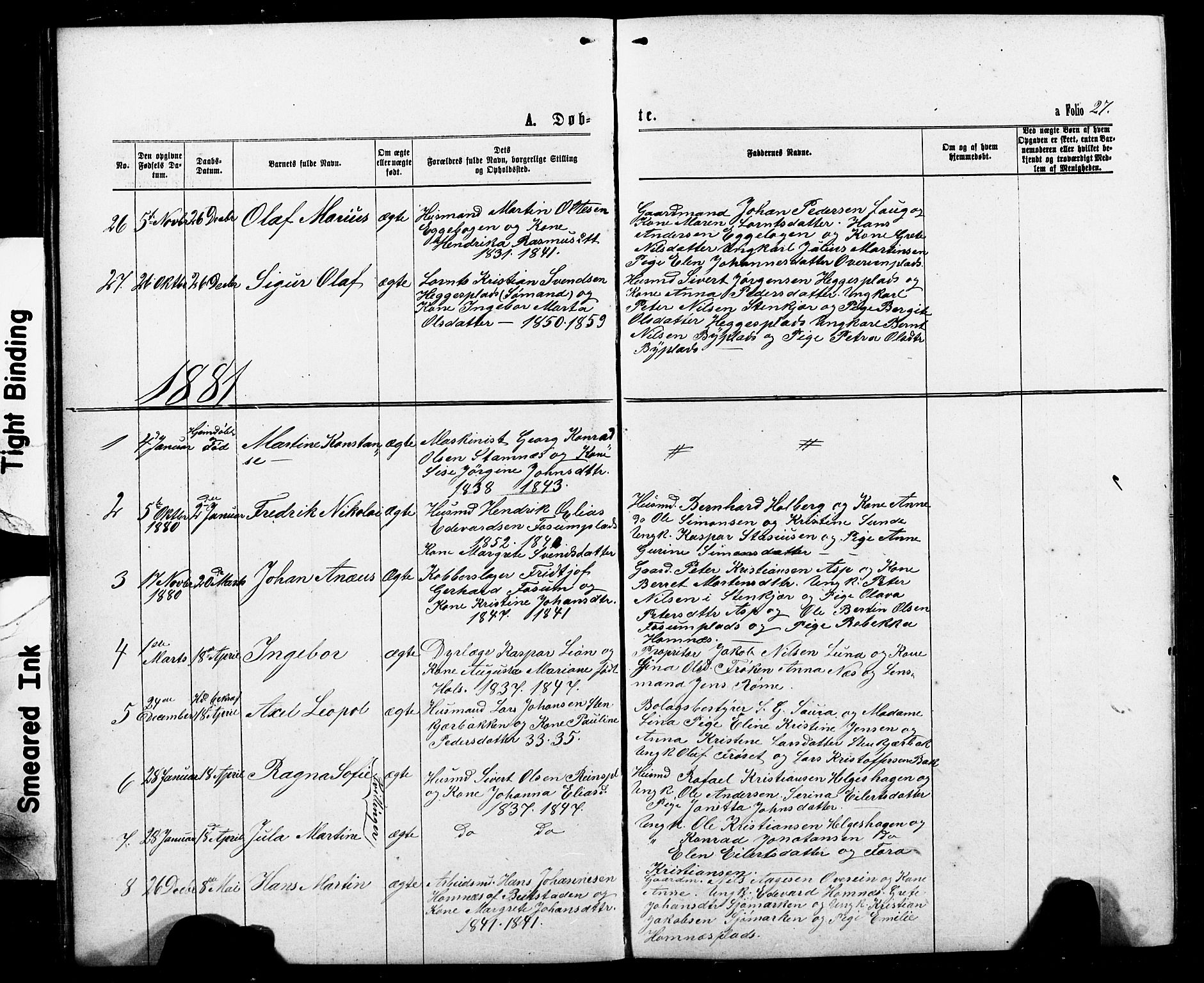 SAT, Ministerialprotokoller, klokkerbøker og fødselsregistre - Nord-Trøndelag, 740/L0380: Klokkerbok nr. 740C01, 1868-1902, s. 27