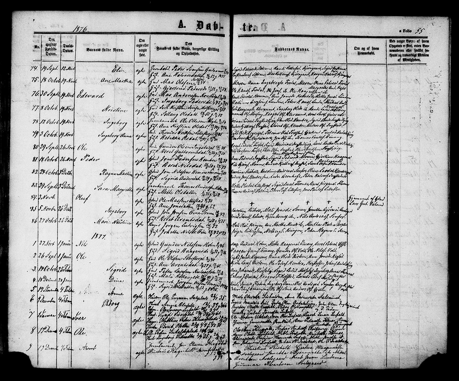 SAT, Ministerialprotokoller, klokkerbøker og fødselsregistre - Nord-Trøndelag, 703/L0029: Ministerialbok nr. 703A02, 1863-1879, s. 55