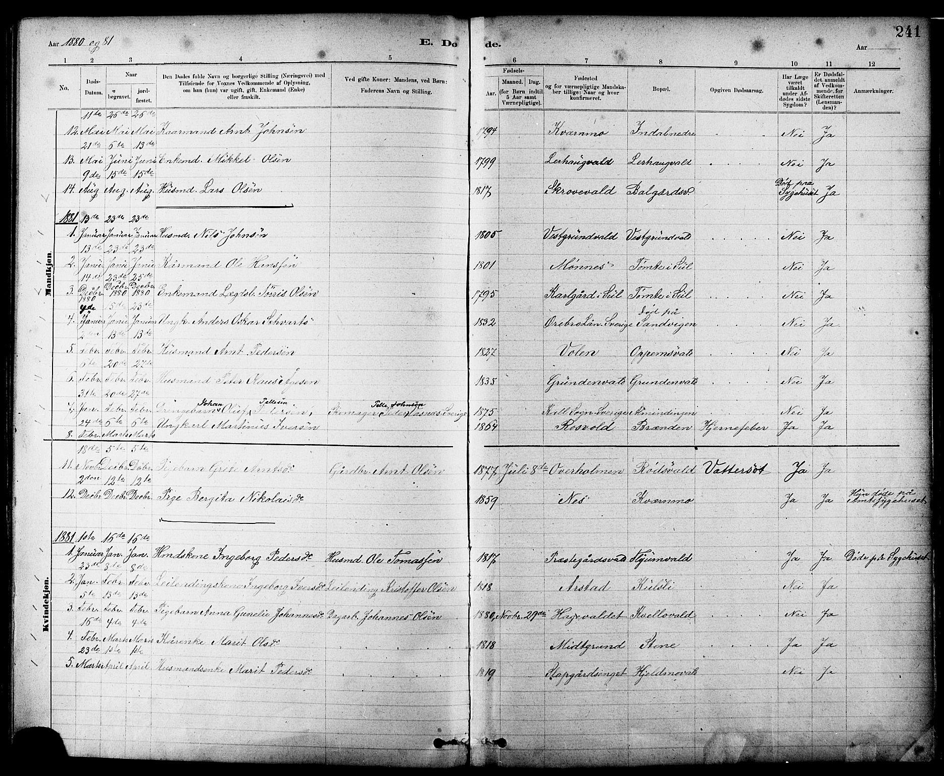 SAT, Ministerialprotokoller, klokkerbøker og fødselsregistre - Nord-Trøndelag, 724/L0267: Klokkerbok nr. 724C03, 1879-1898, s. 241
