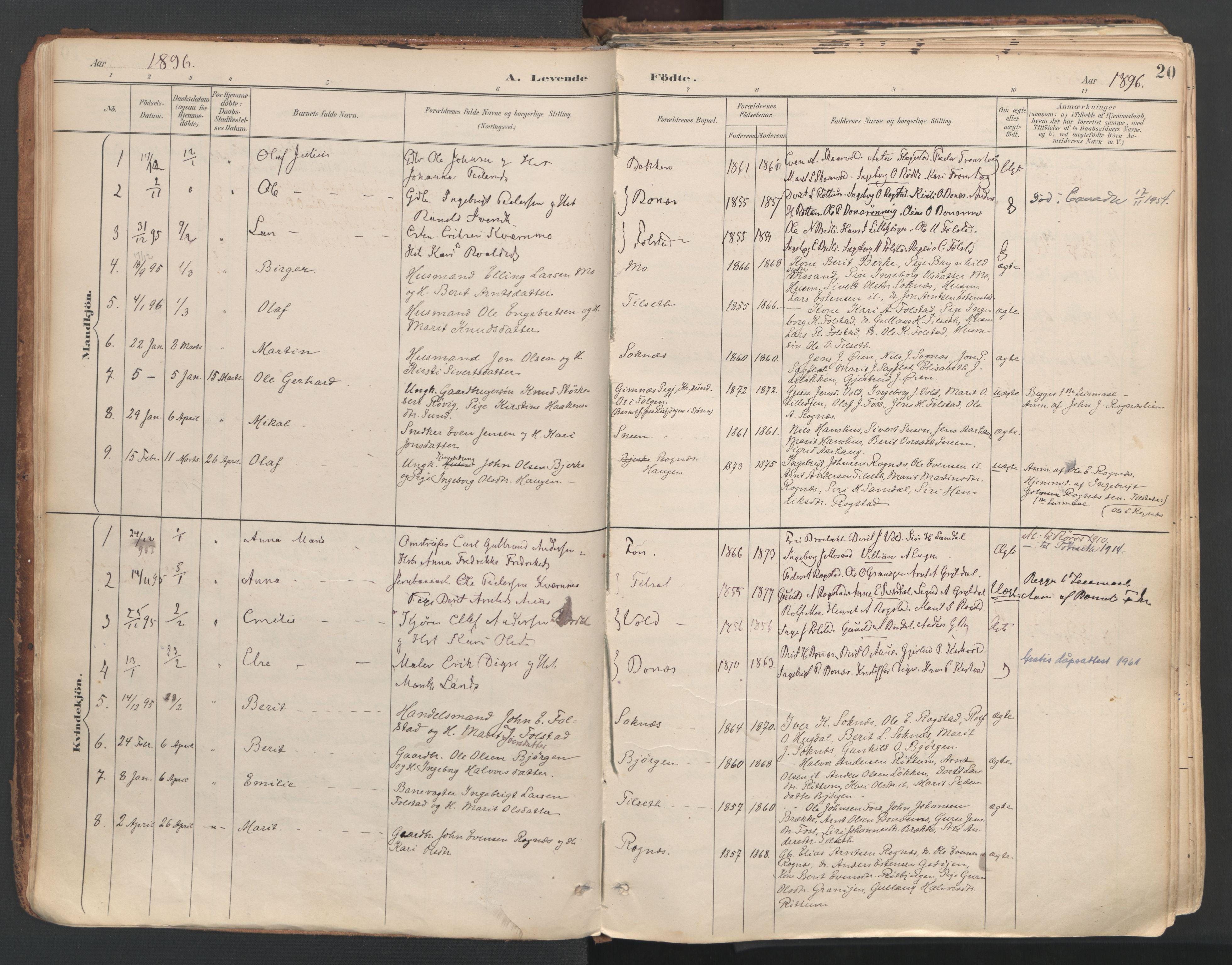 SAT, Ministerialprotokoller, klokkerbøker og fødselsregistre - Sør-Trøndelag, 687/L1004: Ministerialbok nr. 687A10, 1891-1923, s. 20