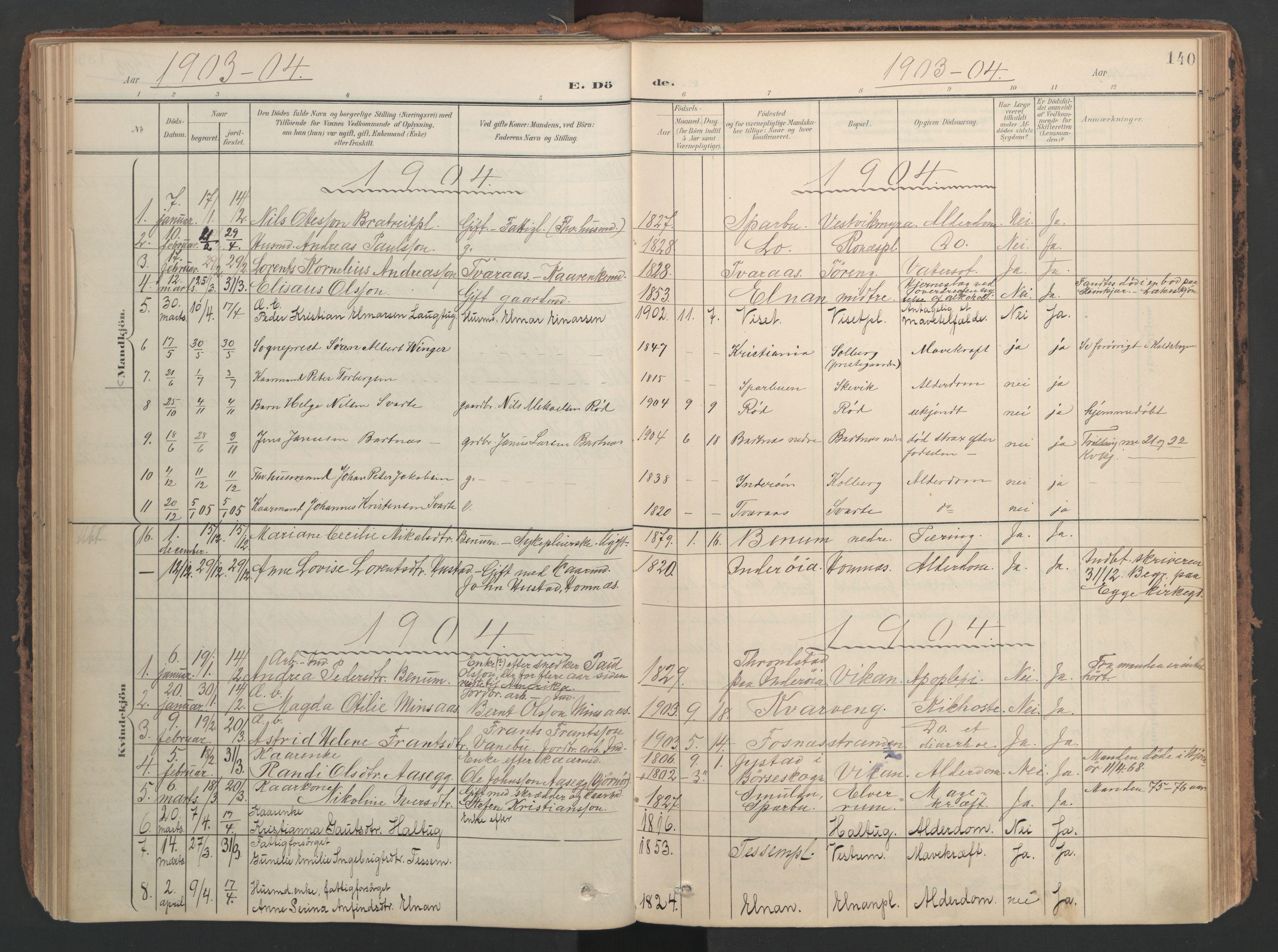 SAT, Ministerialprotokoller, klokkerbøker og fødselsregistre - Nord-Trøndelag, 741/L0397: Ministerialbok nr. 741A11, 1901-1911, s. 140