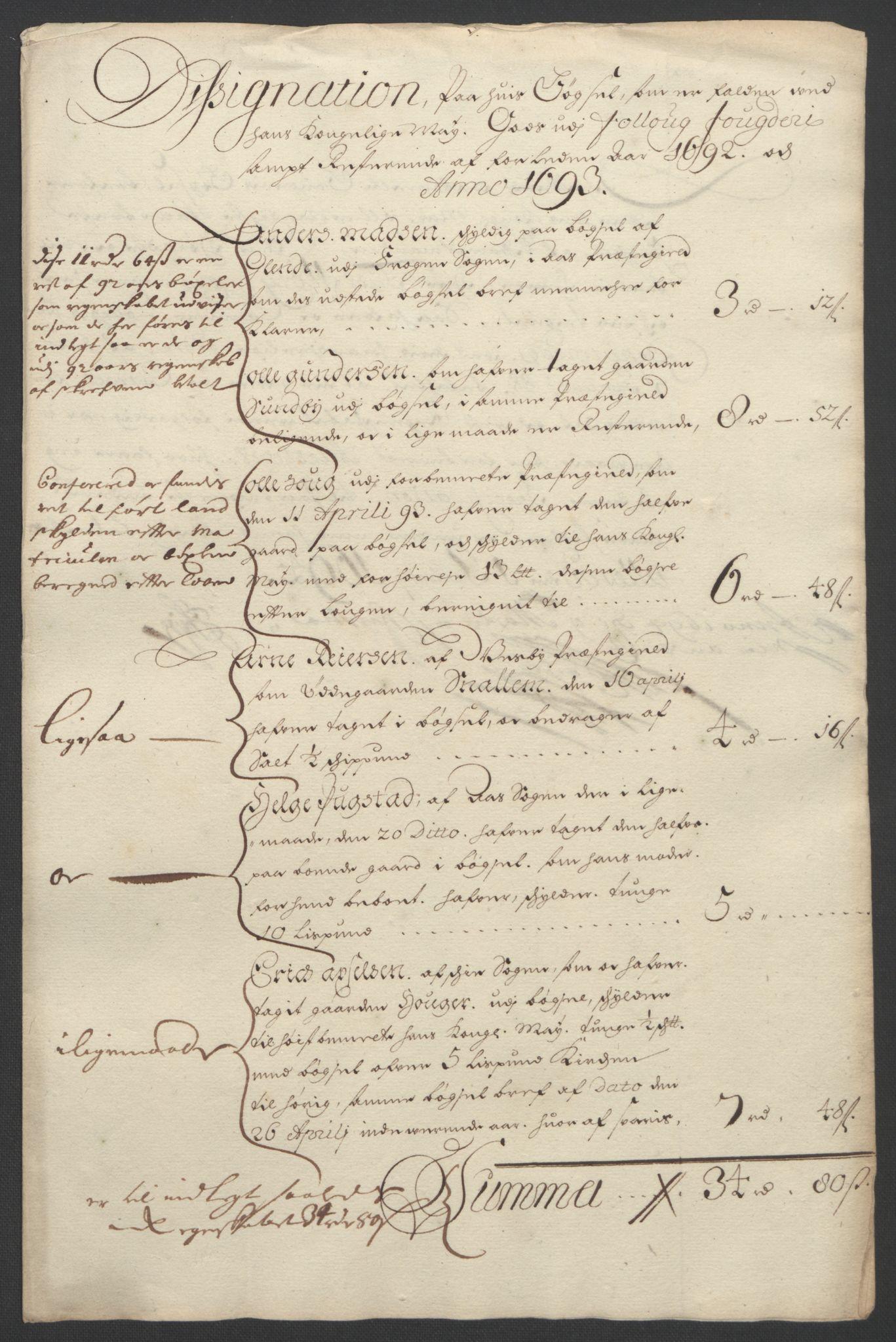RA, Rentekammeret inntil 1814, Reviderte regnskaper, Fogderegnskap, R09/L0437: Fogderegnskap Follo, 1692-1693, s. 250