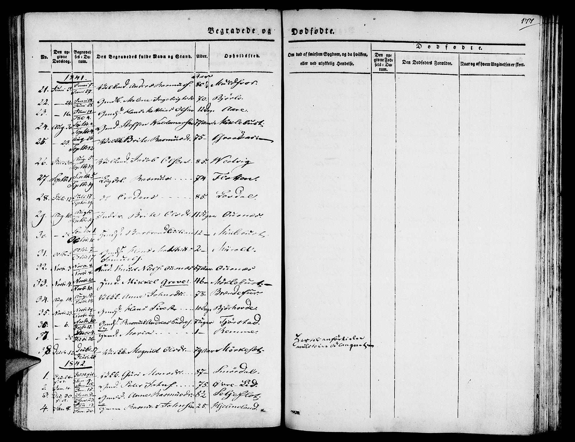 SAB, Eid Sokneprestembete, H/Haa: Ministerialbok nr. A 6, 1831-1843, s. 177