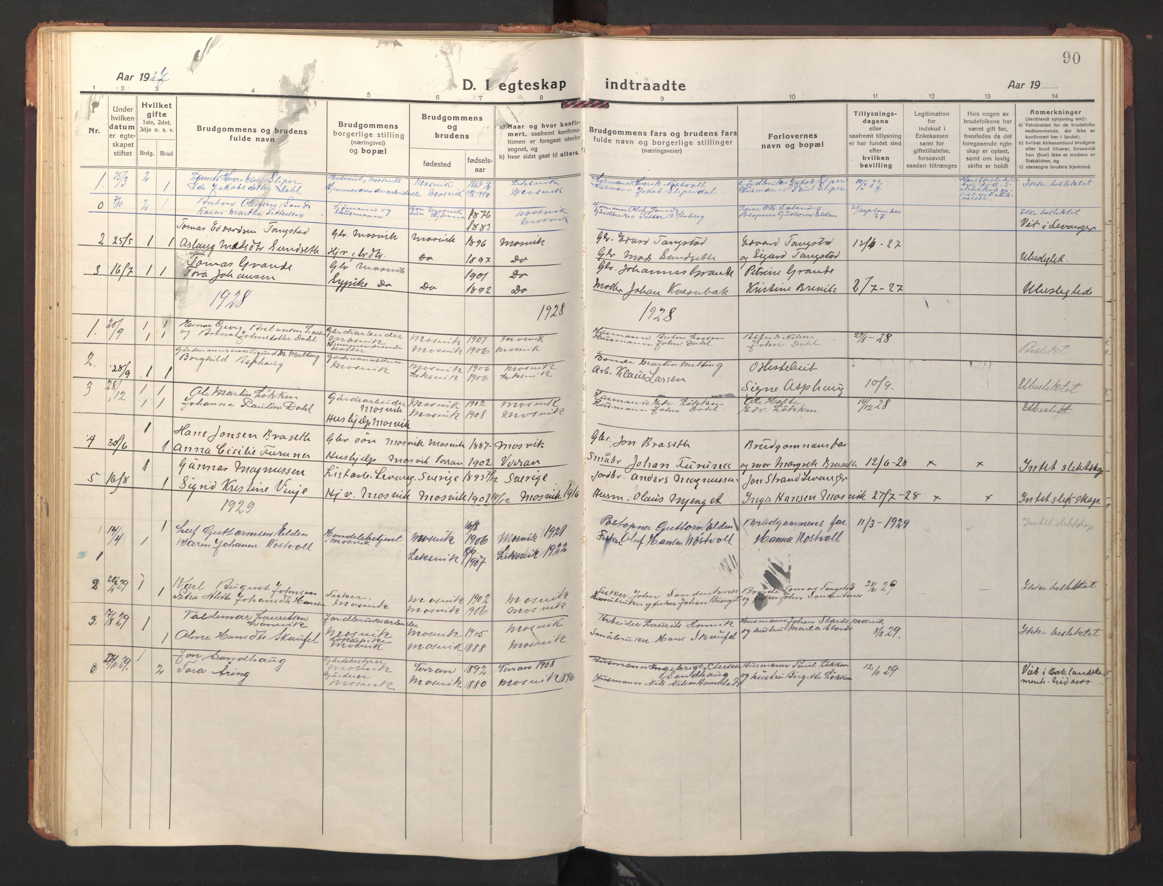SAT, Ministerialprotokoller, klokkerbøker og fødselsregistre - Nord-Trøndelag, 733/L0328: Klokkerbok nr. 733C03, 1919-1966, s. 90