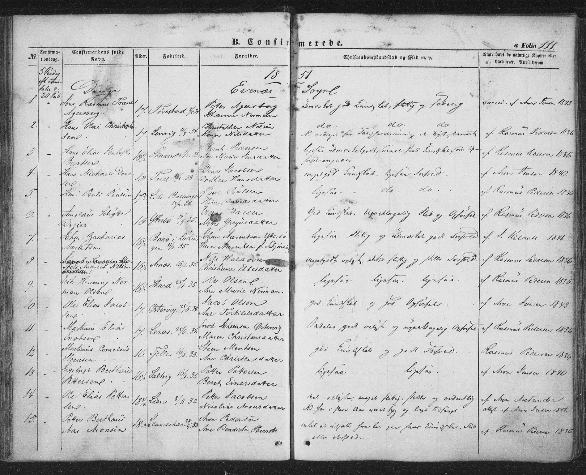 SAT, Ministerialprotokoller, klokkerbøker og fødselsregistre - Nordland, 863/L0895: Ministerialbok nr. 863A07, 1851-1860, s. 111