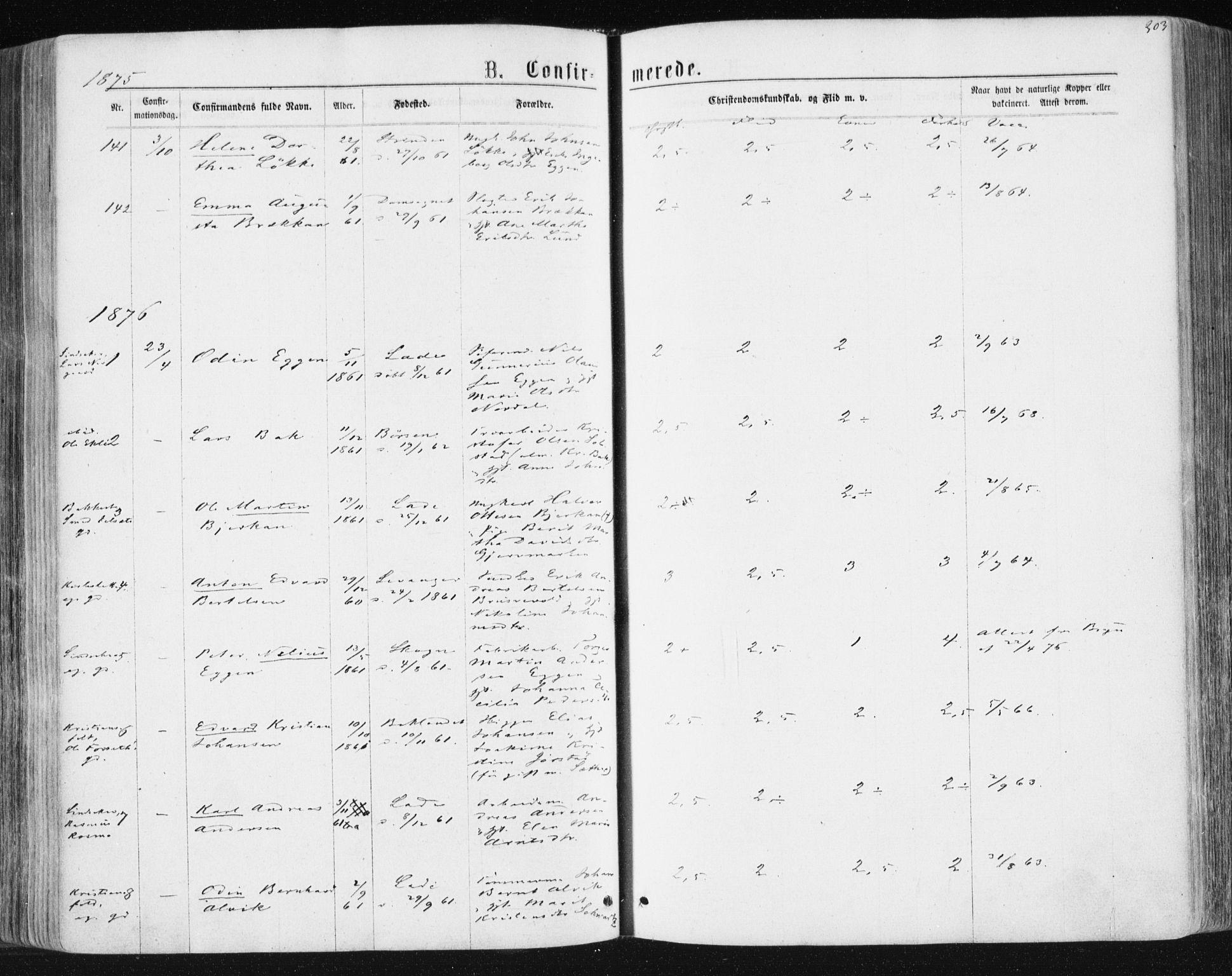SAT, Ministerialprotokoller, klokkerbøker og fødselsregistre - Sør-Trøndelag, 604/L0186: Ministerialbok nr. 604A07, 1866-1877, s. 303