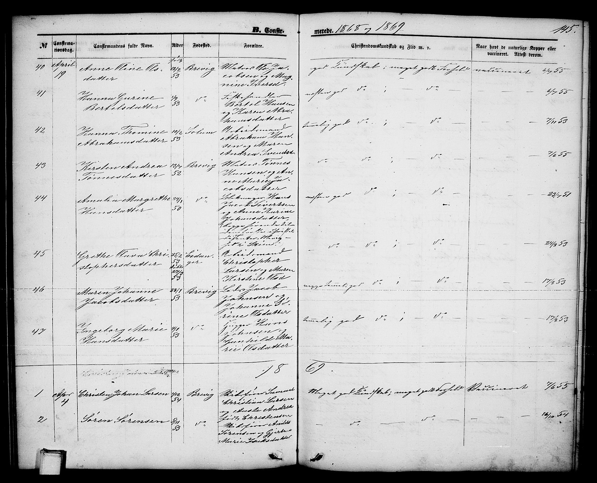 SAKO, Brevik kirkebøker, G/Ga/L0003: Klokkerbok nr. 3, 1866-1881, s. 145
