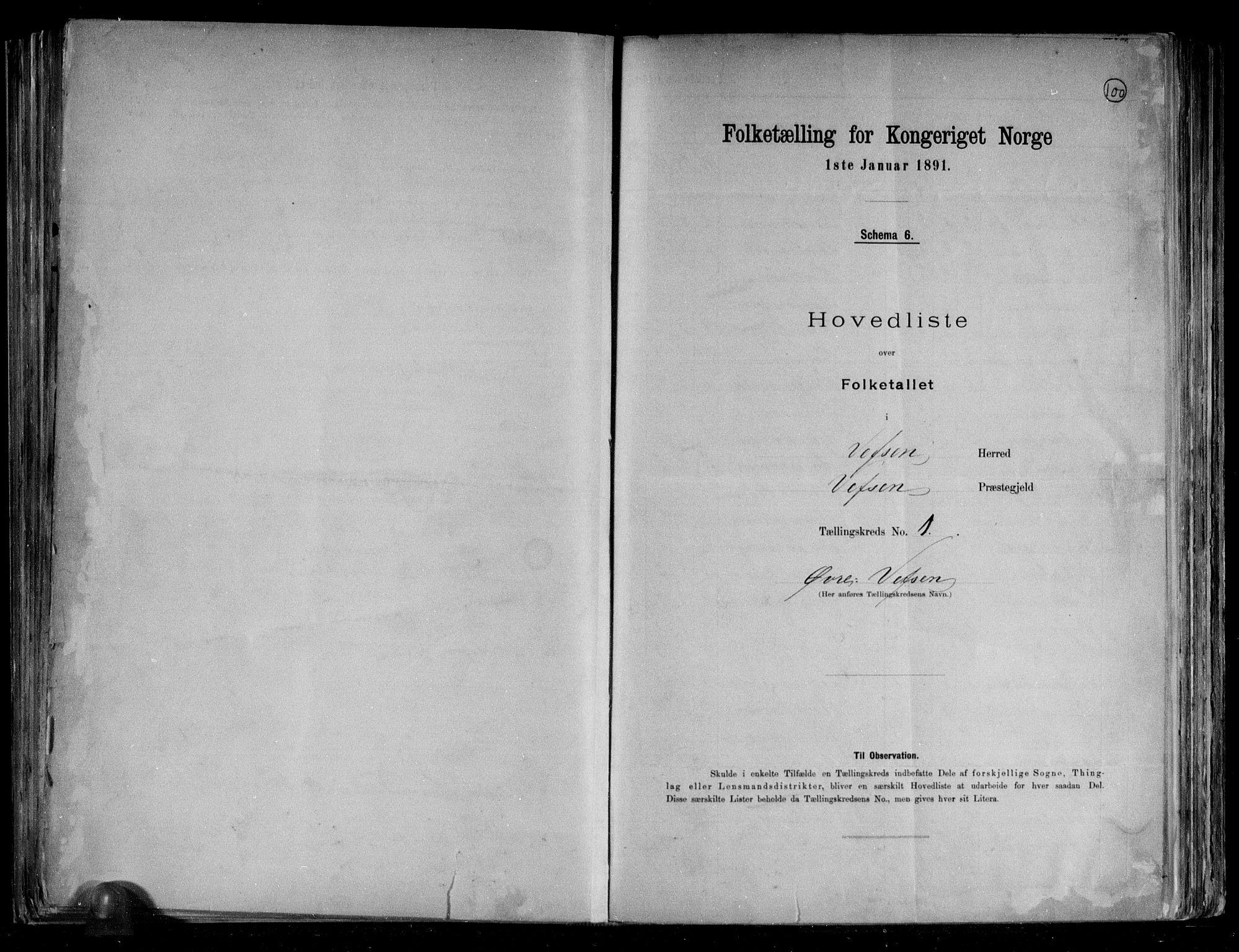 RA, Folketelling 1891 for 1824 Vefsn herred, 1891, s. 4