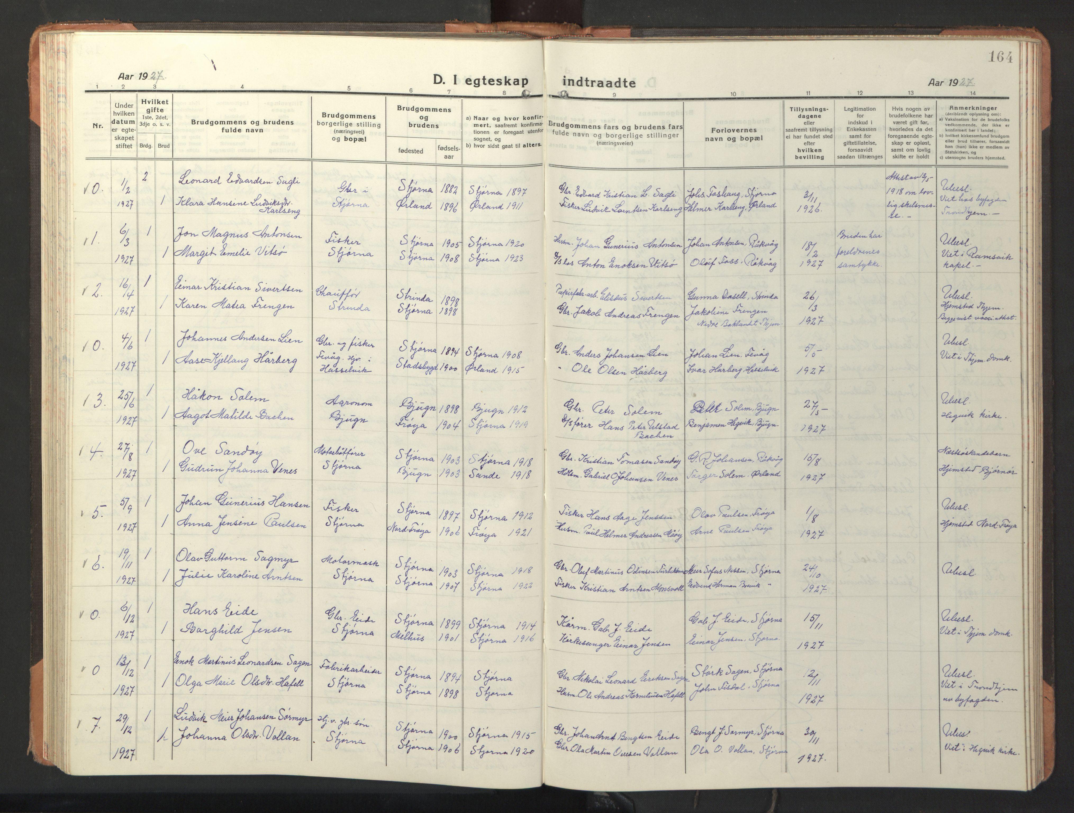 SAT, Ministerialprotokoller, klokkerbøker og fødselsregistre - Sør-Trøndelag, 653/L0658: Klokkerbok nr. 653C02, 1919-1947, s. 164