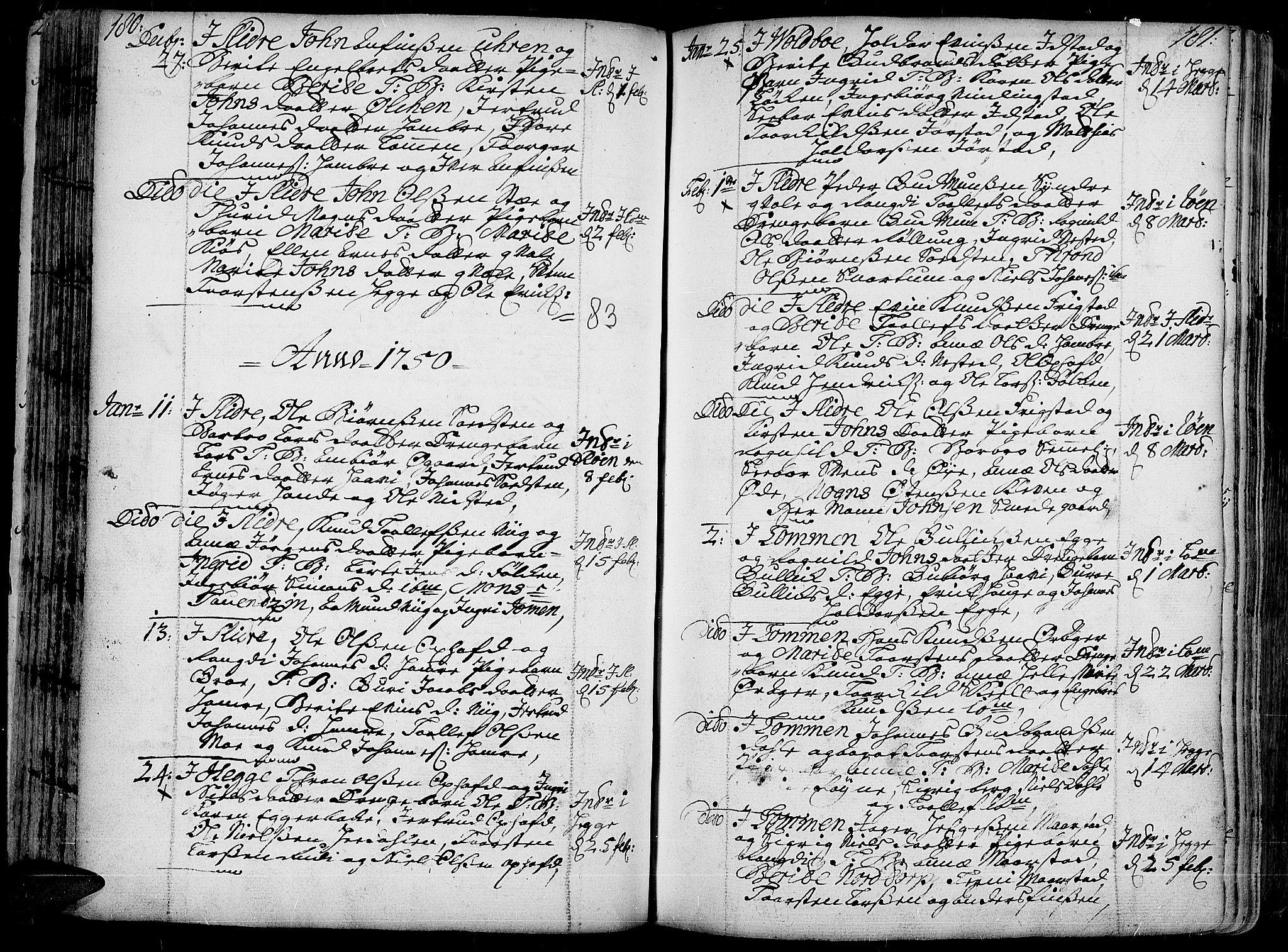 SAH, Slidre prestekontor, Ministerialbok nr. 1, 1724-1814, s. 180-181