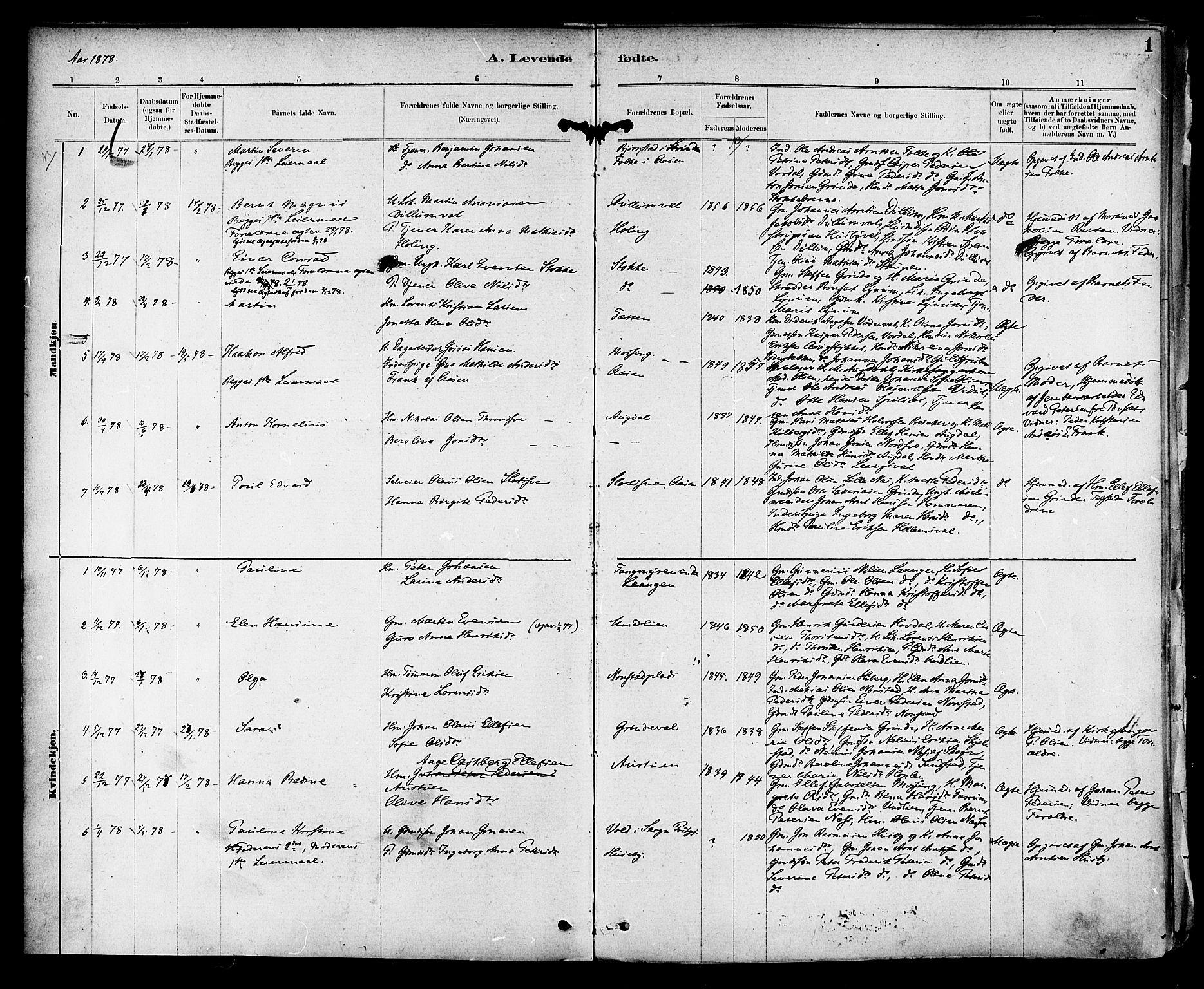 SAT, Ministerialprotokoller, klokkerbøker og fødselsregistre - Nord-Trøndelag, 714/L0130: Ministerialbok nr. 714A01, 1878-1895, s. 1