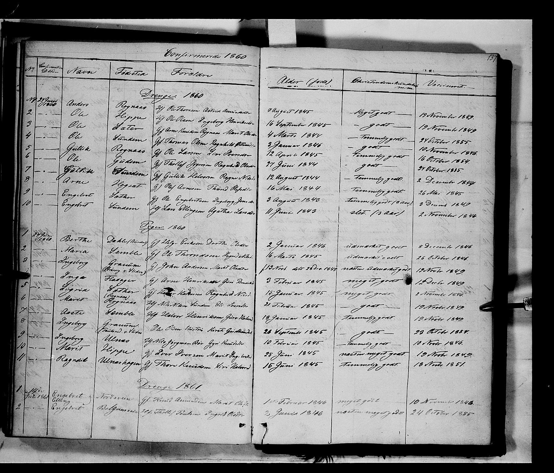 SAH, Nord-Aurdal prestekontor, Ministerialbok nr. 6, 1842-1863, s. 137