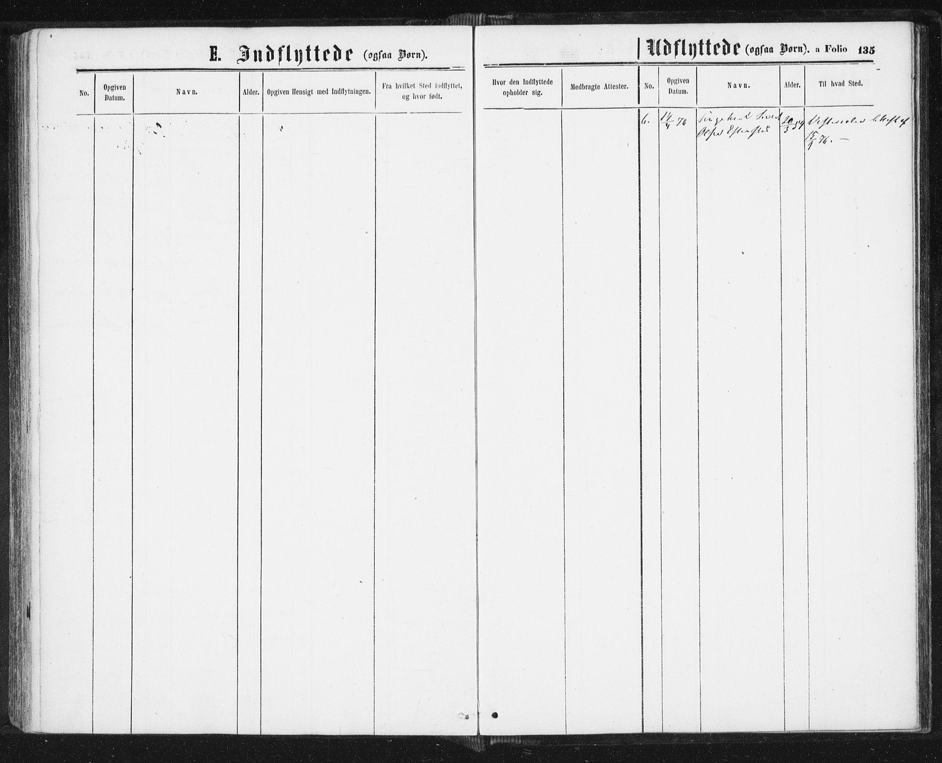SAT, Ministerialprotokoller, klokkerbøker og fødselsregistre - Sør-Trøndelag, 689/L1039: Ministerialbok nr. 689A04, 1865-1878, s. 135