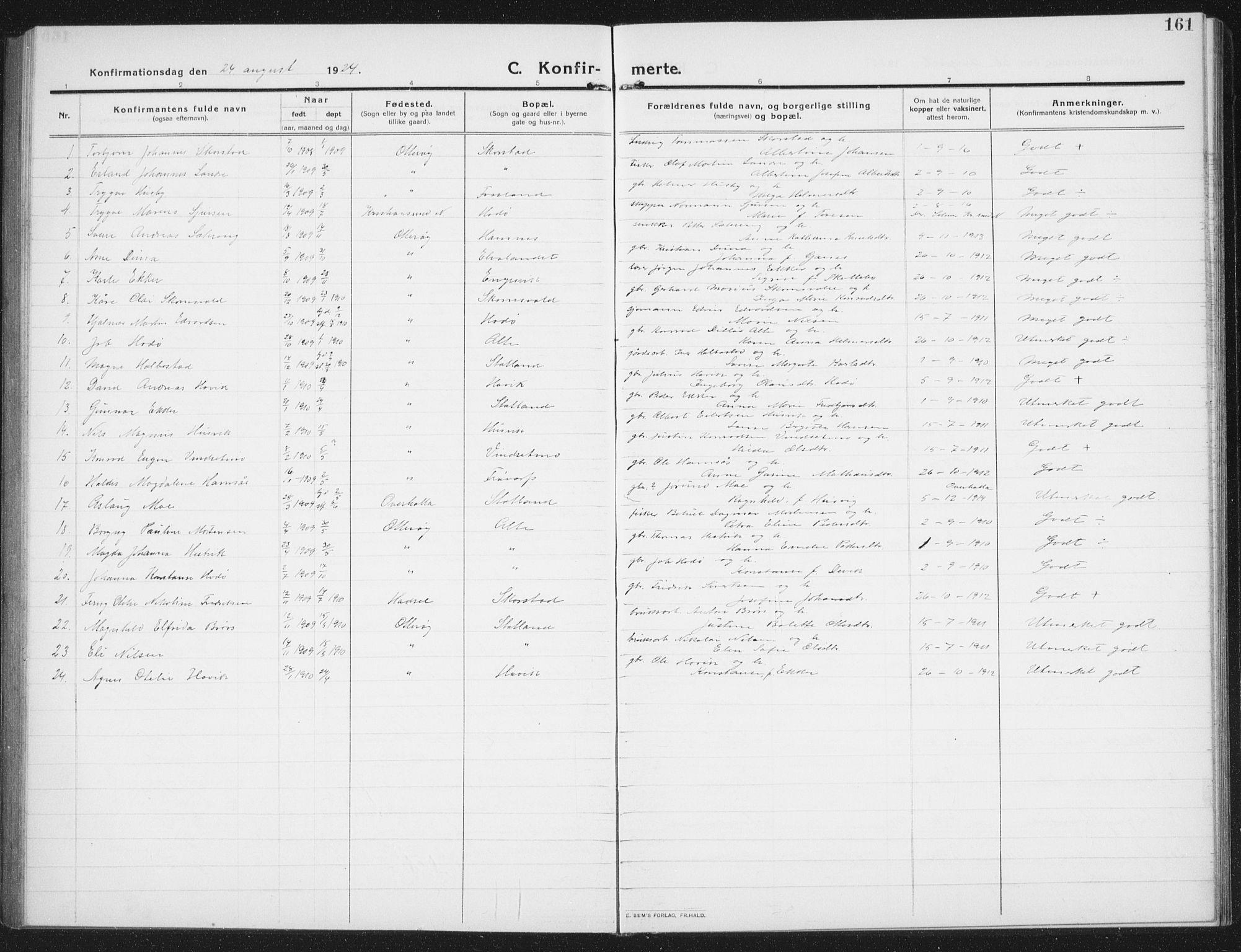 SAT, Ministerialprotokoller, klokkerbøker og fødselsregistre - Nord-Trøndelag, 774/L0630: Klokkerbok nr. 774C01, 1910-1934, s. 161