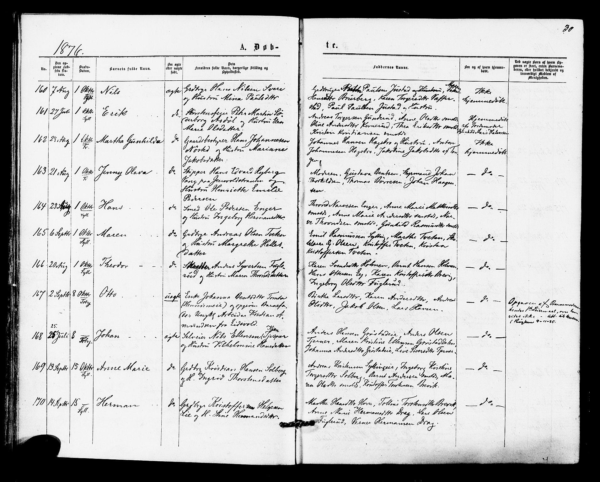 SAKO, Lier kirkebøker, F/Fa/L0014: Ministerialbok nr. I 14, 1875-1882, s. 30