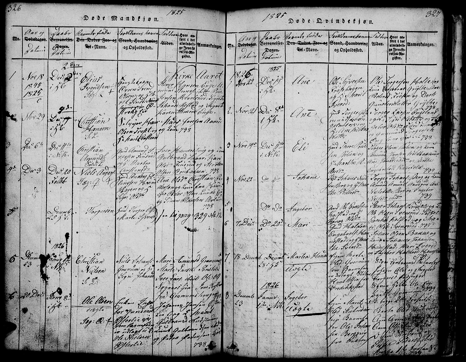 SAH, Gausdal prestekontor, Klokkerbok nr. 1, 1817-1848, s. 326-327