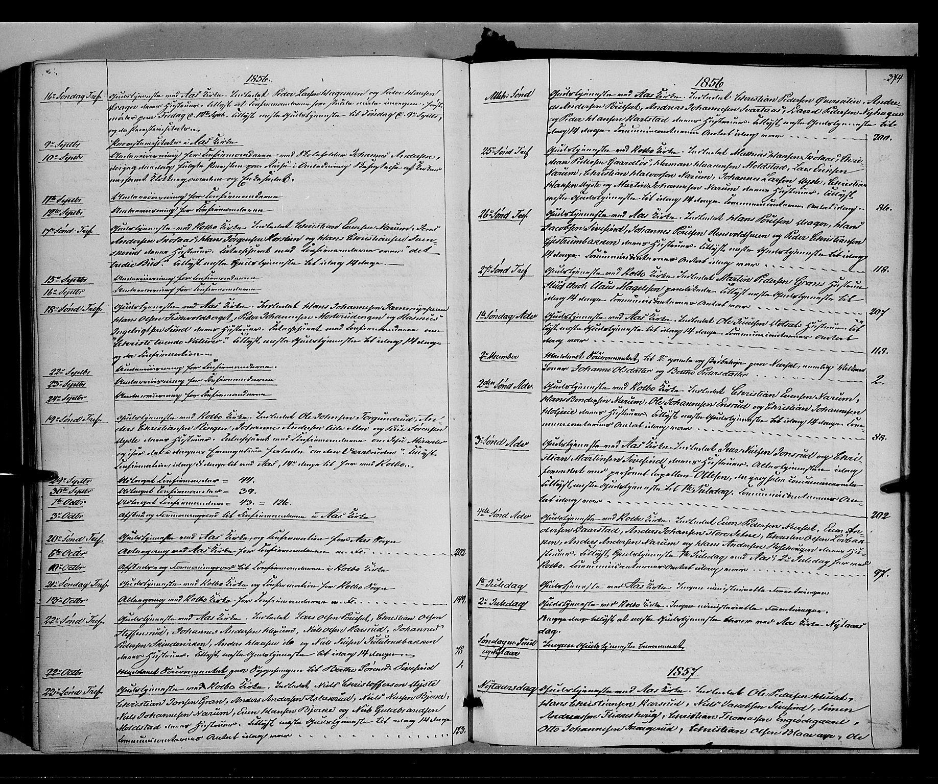 SAH, Vestre Toten prestekontor, H/Ha/Haa/L0006: Ministerialbok nr. 6, 1856-1861, s. 374