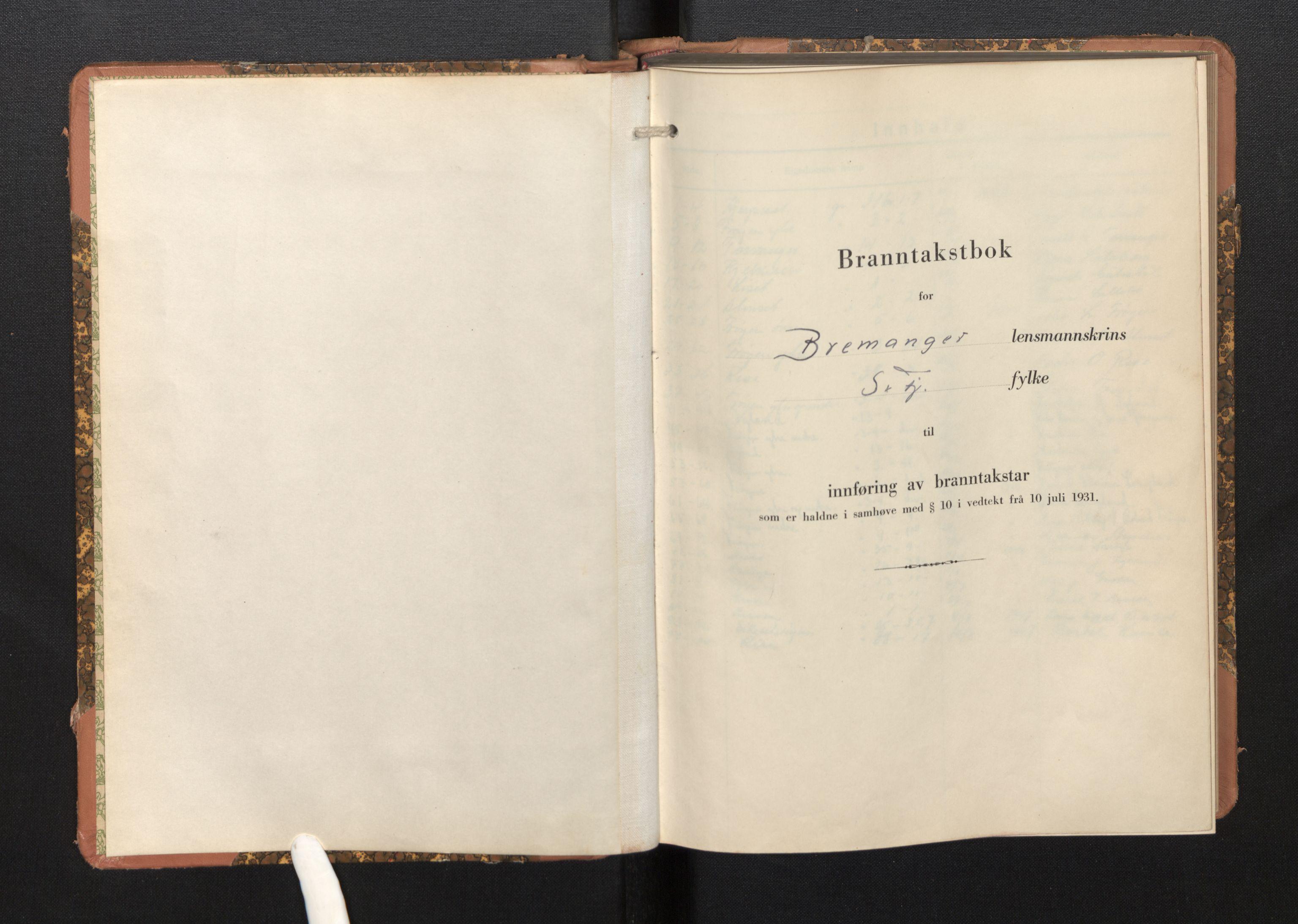 SAB, Lensmannen i Bremanger, 0012/L0009: Branntakstprotokoll, skjematakst, 1943-1950