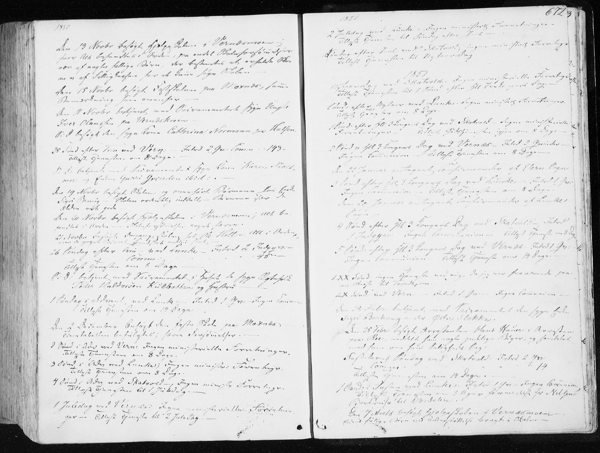 SAT, Ministerialprotokoller, klokkerbøker og fødselsregistre - Nord-Trøndelag, 709/L0074: Ministerialbok nr. 709A14, 1845-1858, s. 672