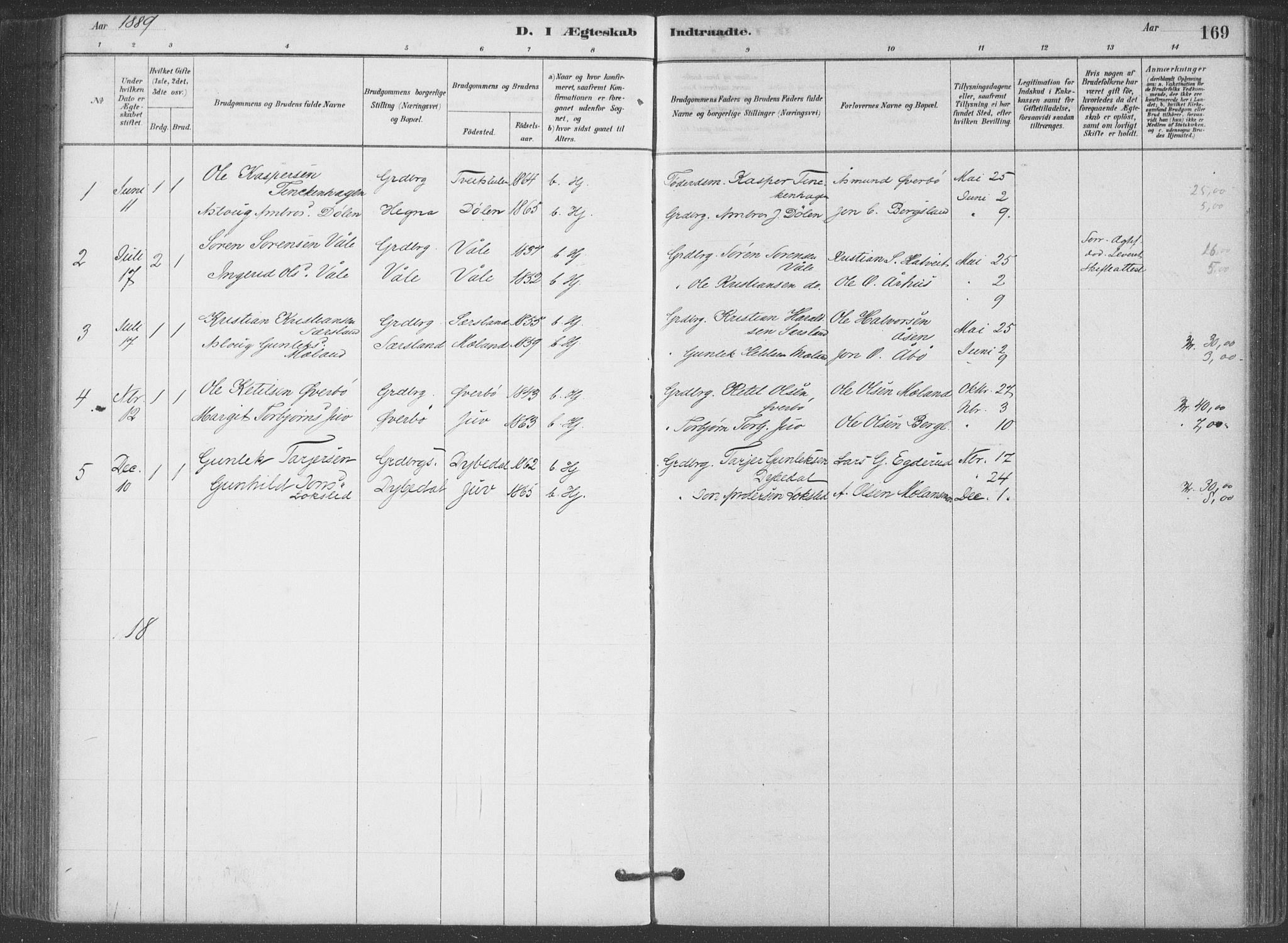 SAKO, Hjartdal kirkebøker, F/Fa/L0010: Ministerialbok nr. I 10, 1880-1929, s. 169
