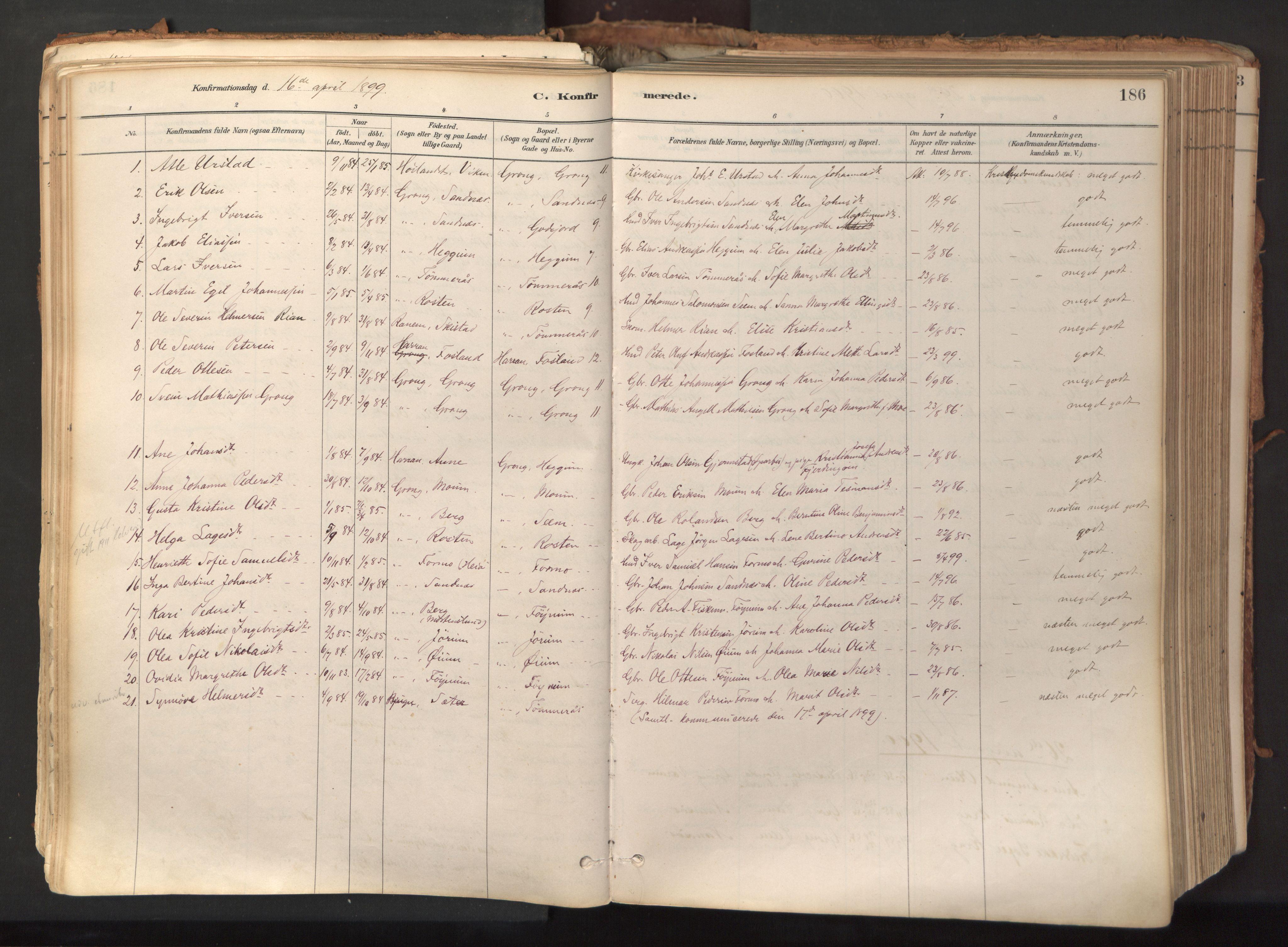 SAT, Ministerialprotokoller, klokkerbøker og fødselsregistre - Nord-Trøndelag, 758/L0519: Ministerialbok nr. 758A04, 1880-1926, s. 186