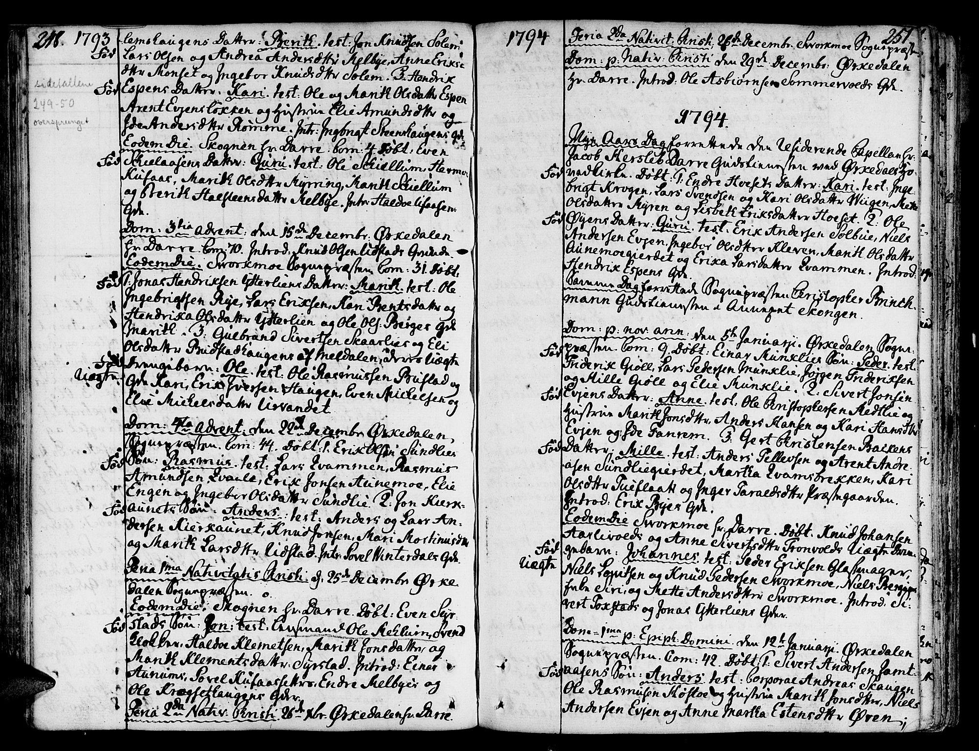 SAT, Ministerialprotokoller, klokkerbøker og fødselsregistre - Sør-Trøndelag, 668/L0802: Ministerialbok nr. 668A02, 1776-1799, s. 248-251
