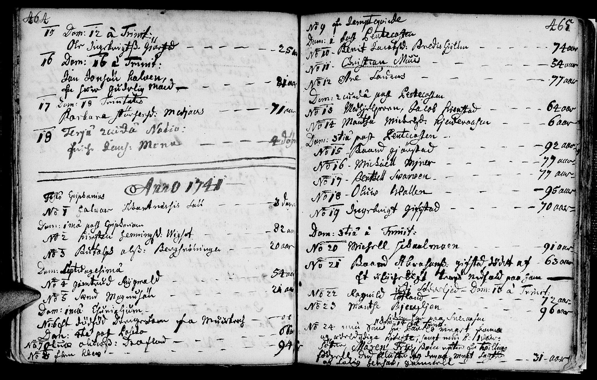SAT, Ministerialprotokoller, klokkerbøker og fødselsregistre - Nord-Trøndelag, 749/L0467: Ministerialbok nr. 749A01, 1733-1787, s. 464-465