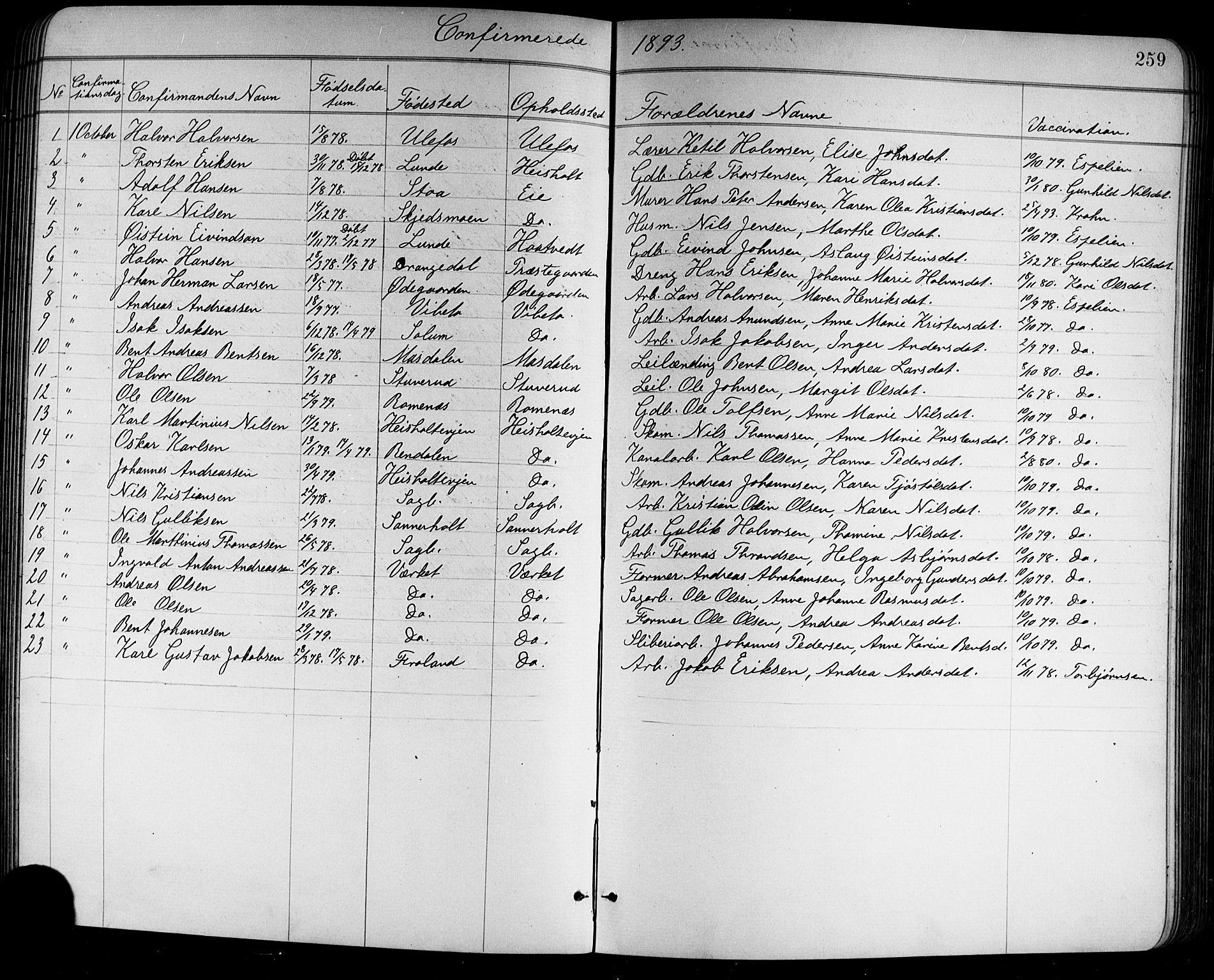 SAKO, Holla kirkebøker, G/Ga/L0005: Klokkerbok nr. I 5, 1891-1917, s. 259