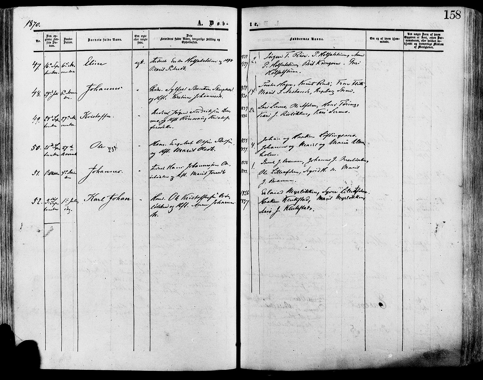SAH, Lesja prestekontor, Ministerialbok nr. 8, 1854-1880, s. 158