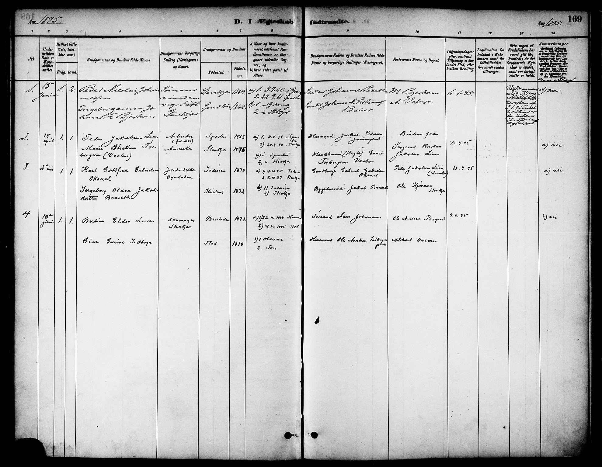 SAT, Ministerialprotokoller, klokkerbøker og fødselsregistre - Nord-Trøndelag, 739/L0371: Ministerialbok nr. 739A03, 1881-1895, s. 169