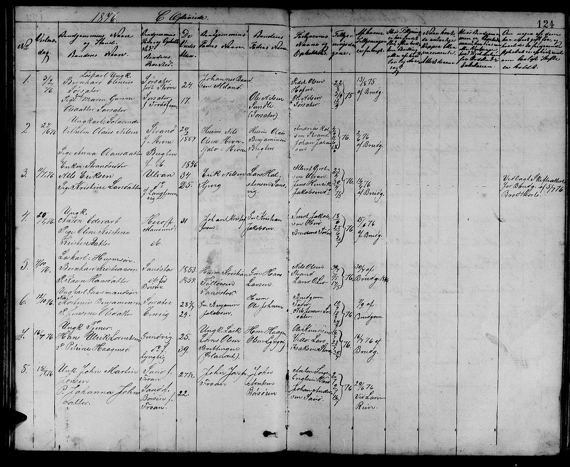 SAT, Ministerialprotokoller, klokkerbøker og fødselsregistre - Sør-Trøndelag, 637/L0561: Klokkerbok nr. 637C02, 1873-1882, s. 124