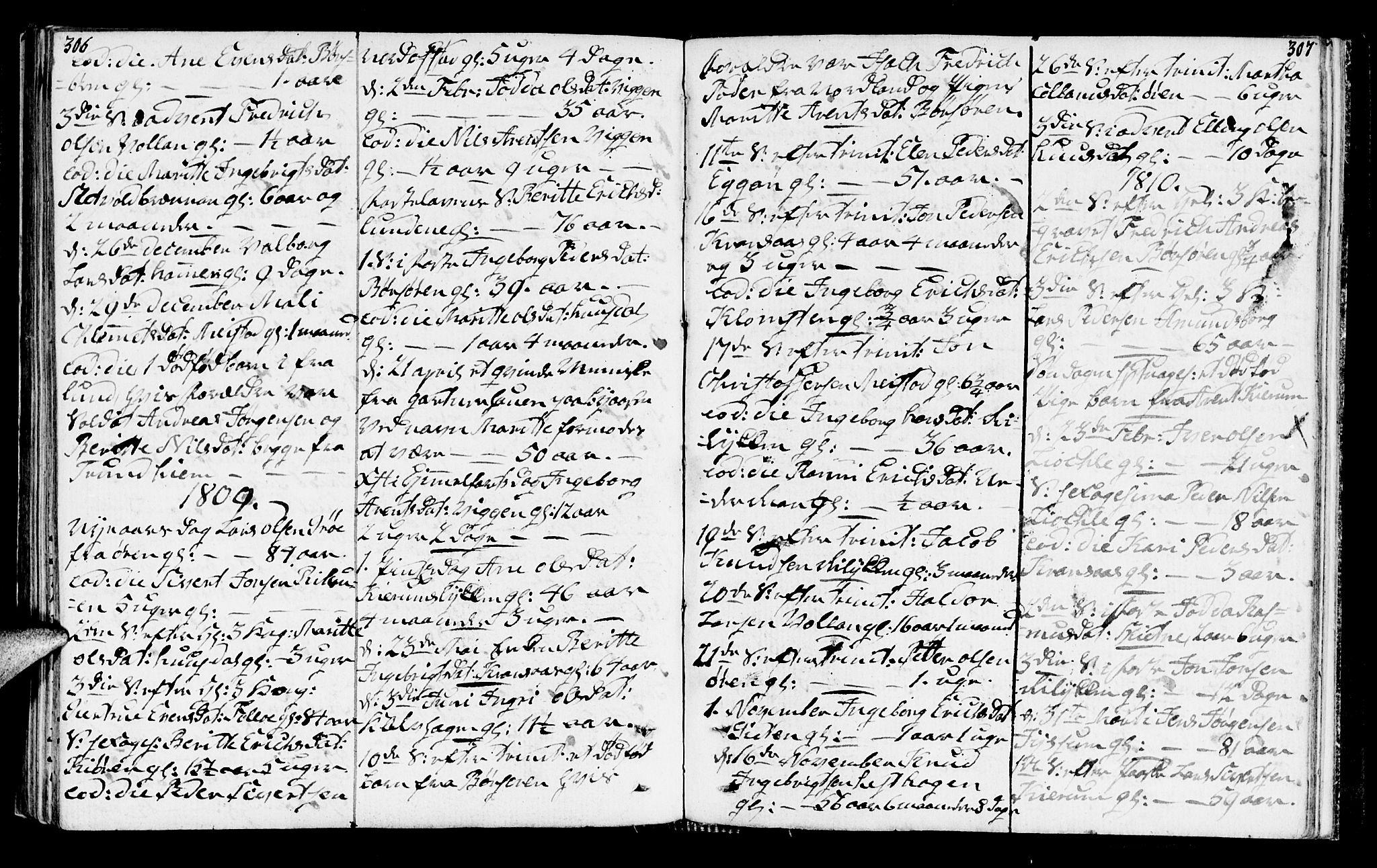 SAT, Ministerialprotokoller, klokkerbøker og fødselsregistre - Sør-Trøndelag, 665/L0769: Ministerialbok nr. 665A04, 1803-1816, s. 306-307