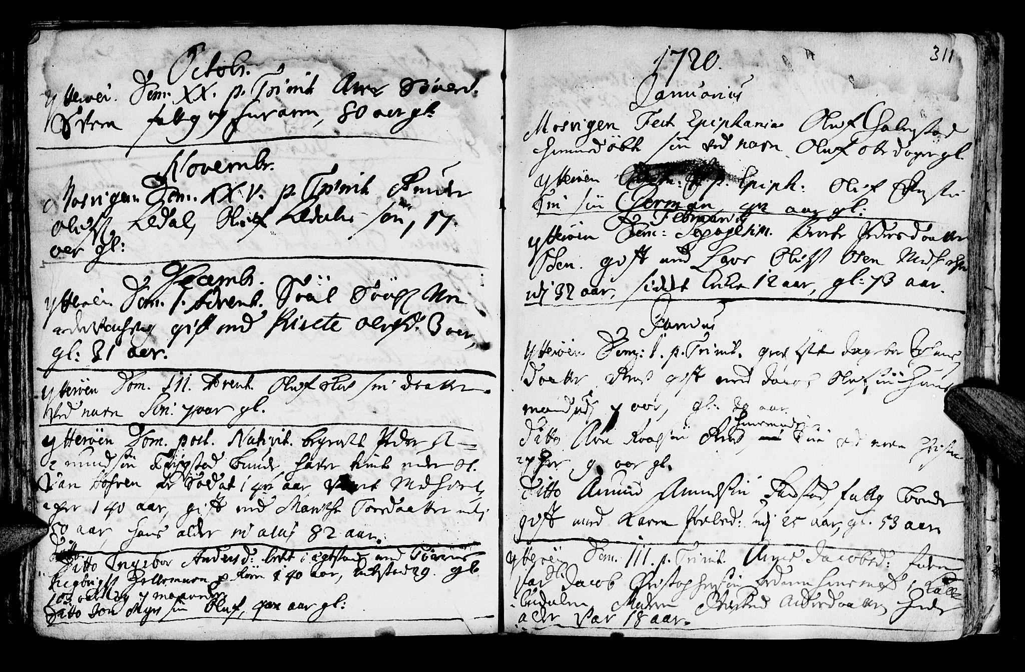SAT, Ministerialprotokoller, klokkerbøker og fødselsregistre - Nord-Trøndelag, 722/L0215: Ministerialbok nr. 722A02, 1718-1755, s. 311