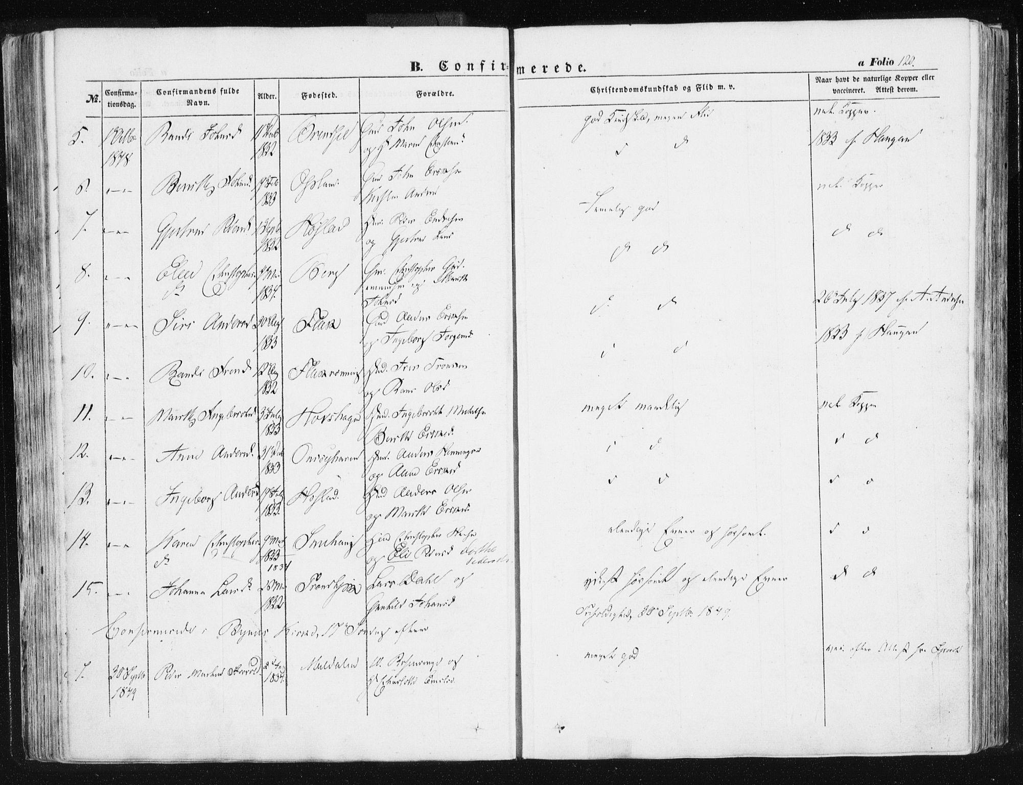 SAT, Ministerialprotokoller, klokkerbøker og fødselsregistre - Sør-Trøndelag, 612/L0376: Ministerialbok nr. 612A08, 1846-1859, s. 120