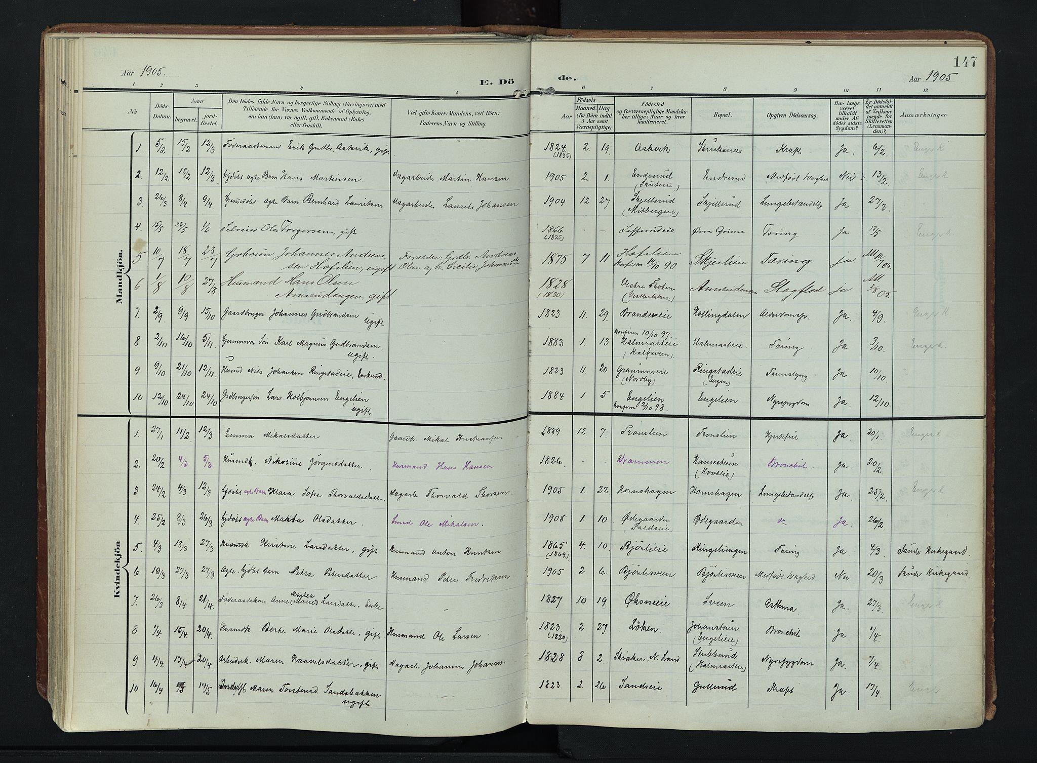 SAH, Søndre Land prestekontor, K/L0007: Ministerialbok nr. 7, 1905-1914, s. 147