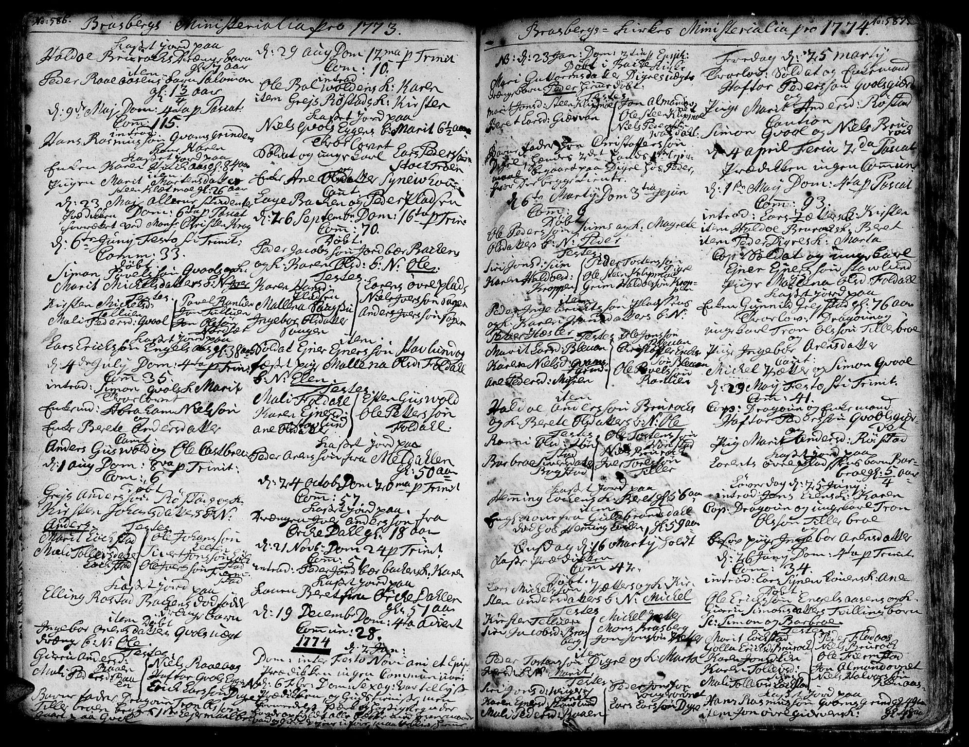 SAT, Ministerialprotokoller, klokkerbøker og fødselsregistre - Sør-Trøndelag, 606/L0278: Ministerialbok nr. 606A01 /4, 1727-1780, s. 586-587