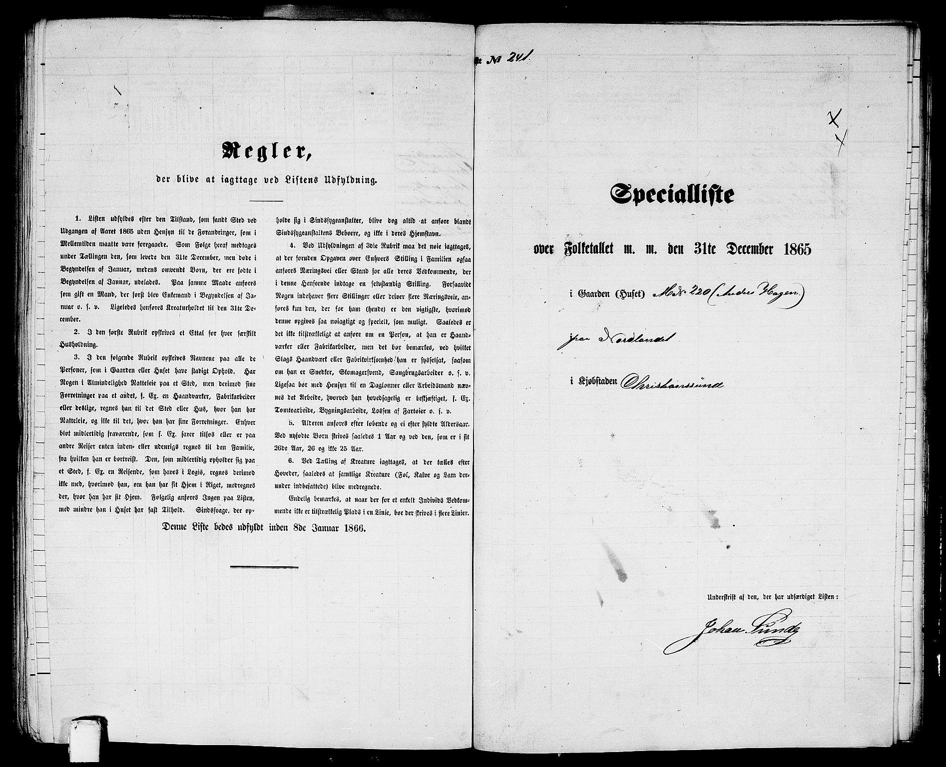 RA, Folketelling 1865 for 1503B Kristiansund prestegjeld, Kristiansund kjøpstad, 1865, s. 491