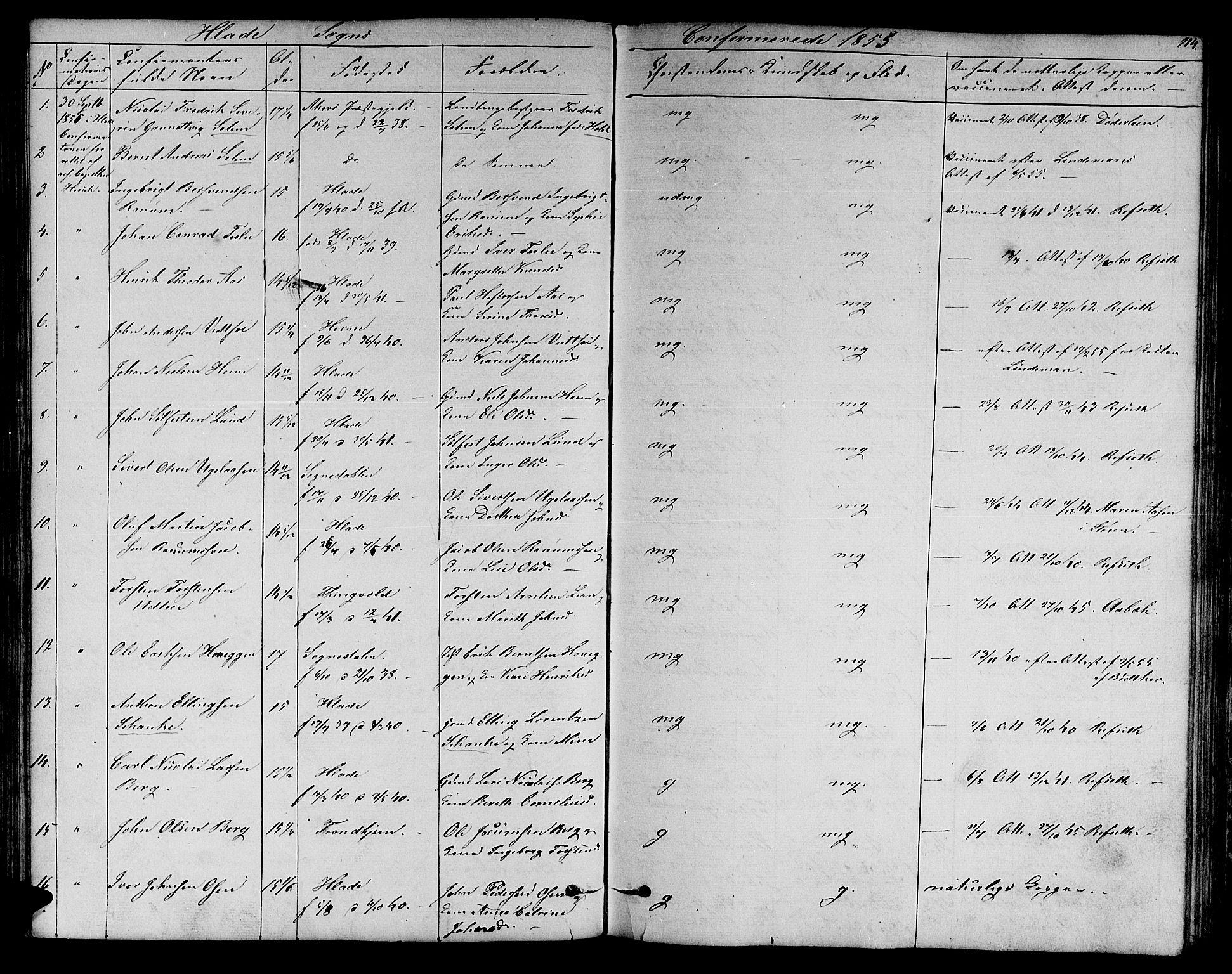 SAT, Ministerialprotokoller, klokkerbøker og fødselsregistre - Sør-Trøndelag, 606/L0310: Klokkerbok nr. 606C06, 1850-1859, s. 114
