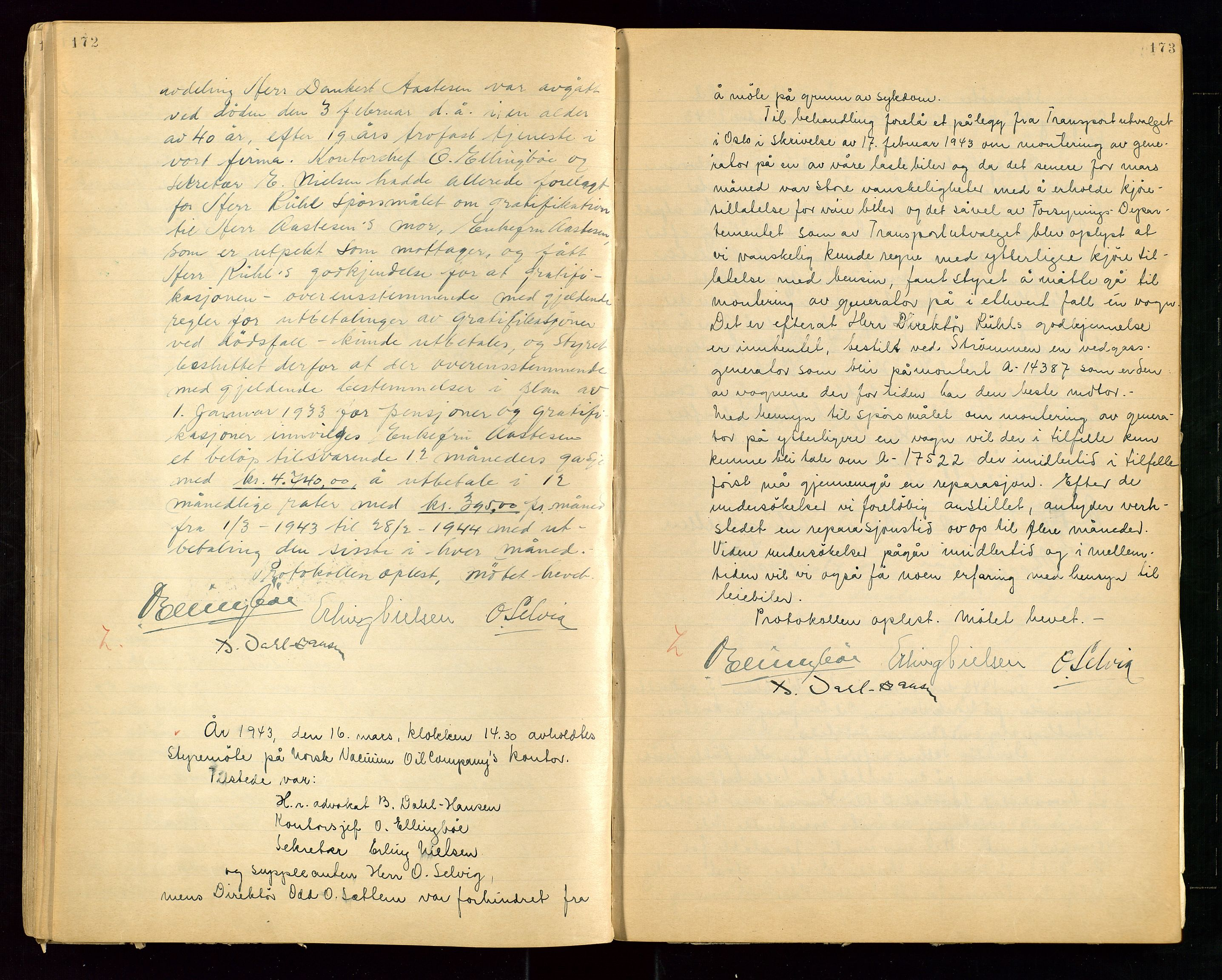 """SAST, PA 1513 - Norsk Vacuum Oil Company A/S, A/L0001: """"Generalforsamlings og styreprotokoll"""" fra 27/4-1918 til 6/4-1949, 1918-1949, s. 172-173"""