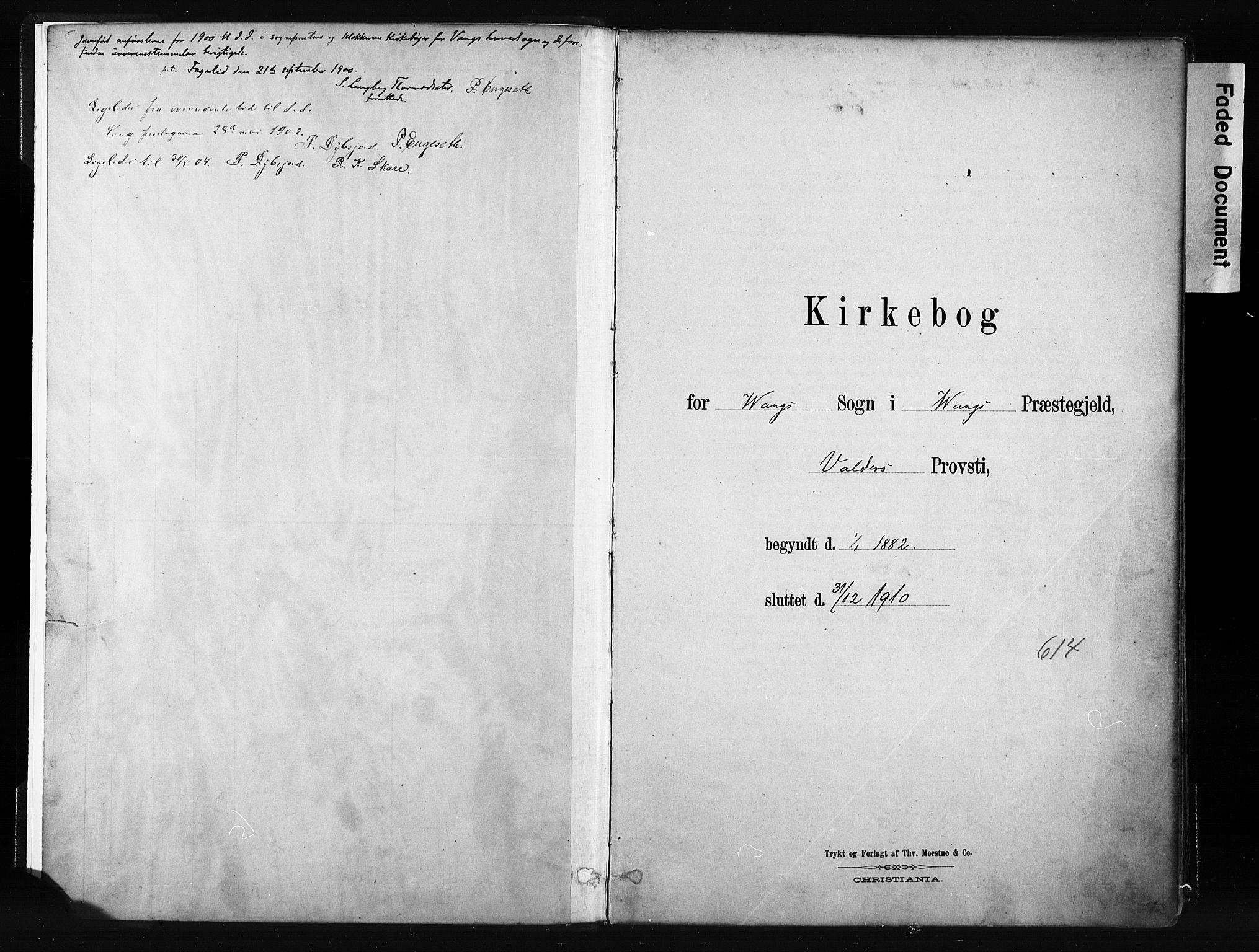 SAH, Vang prestekontor, Valdres, Ministerialbok nr. 8, 1882-1910