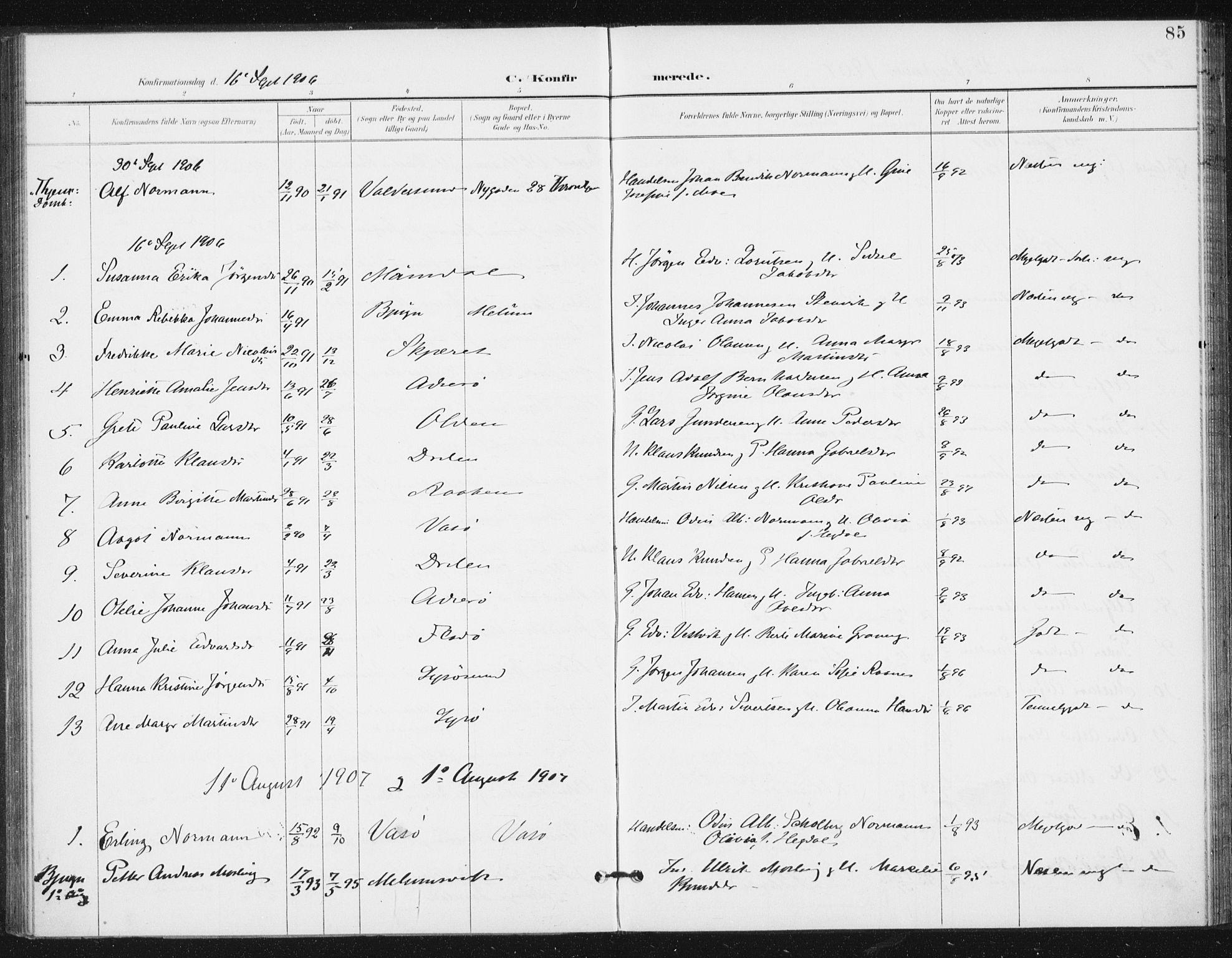 SAT, Ministerialprotokoller, klokkerbøker og fødselsregistre - Sør-Trøndelag, 654/L0664: Ministerialbok nr. 654A02, 1895-1907, s. 85