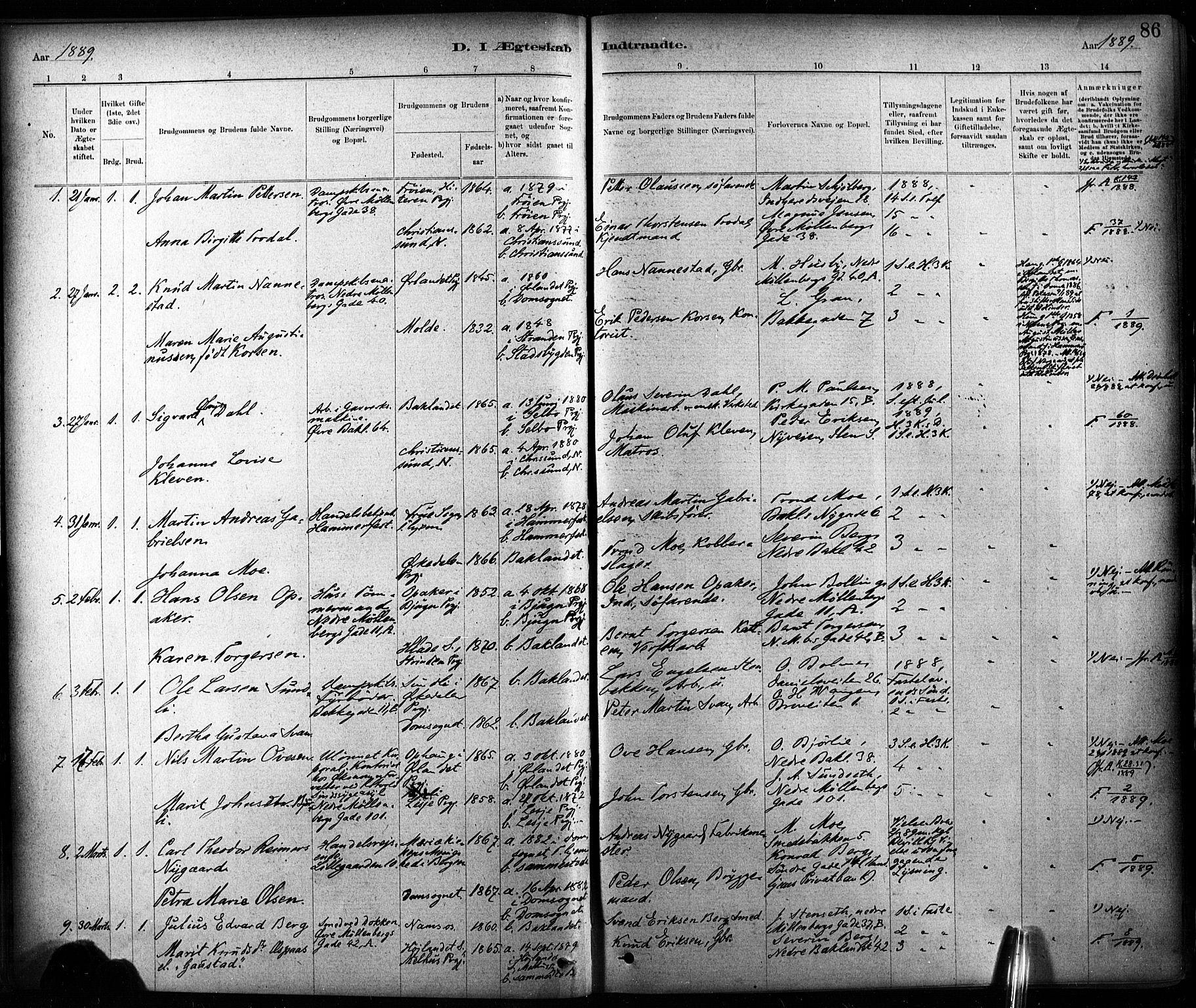 SAT, Ministerialprotokoller, klokkerbøker og fødselsregistre - Sør-Trøndelag, 604/L0189: Ministerialbok nr. 604A10, 1878-1892, s. 86