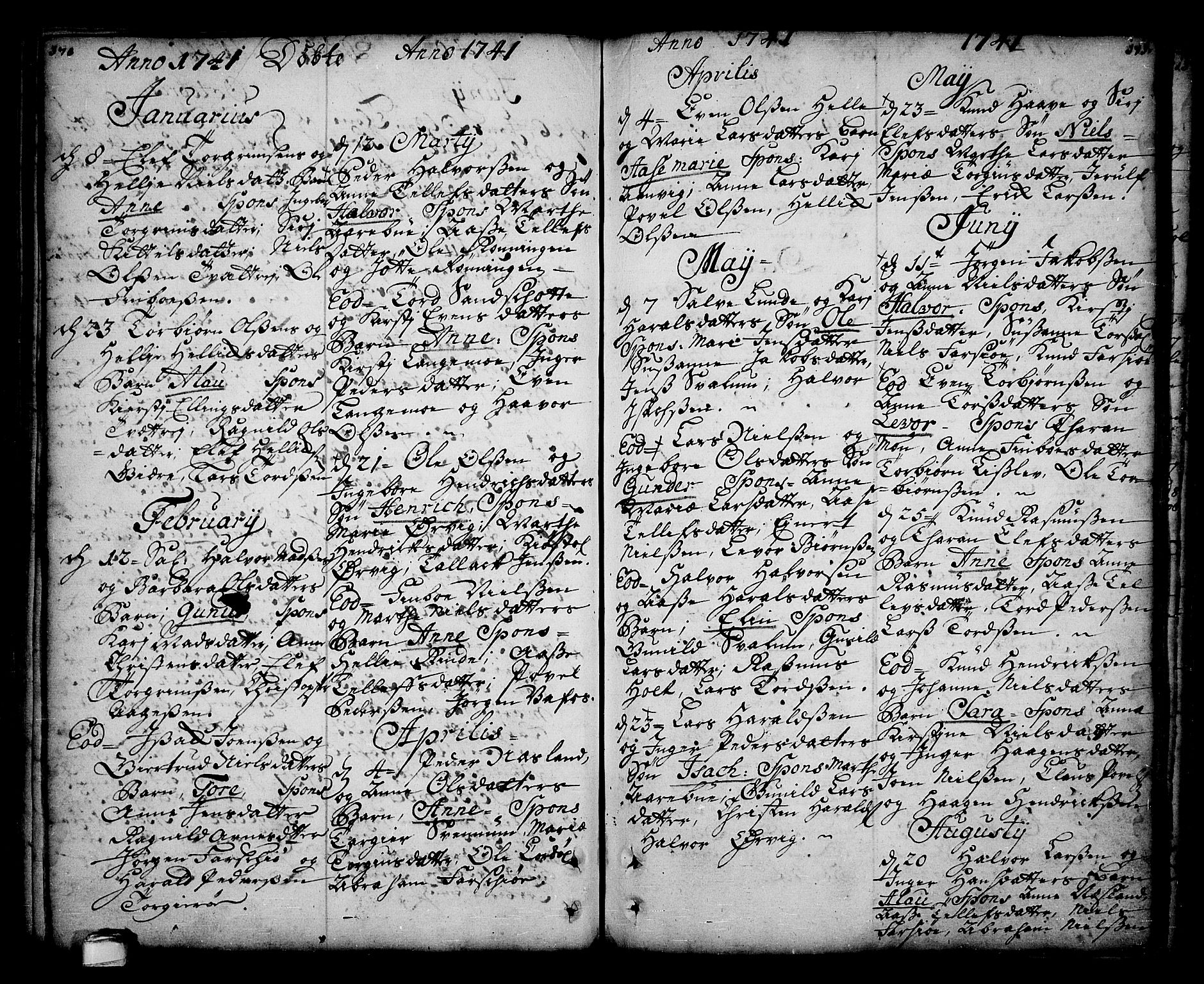SAKO, Sannidal kirkebøker, F/Fa/L0001: Ministerialbok nr. 1, 1702-1766, s. 170-171