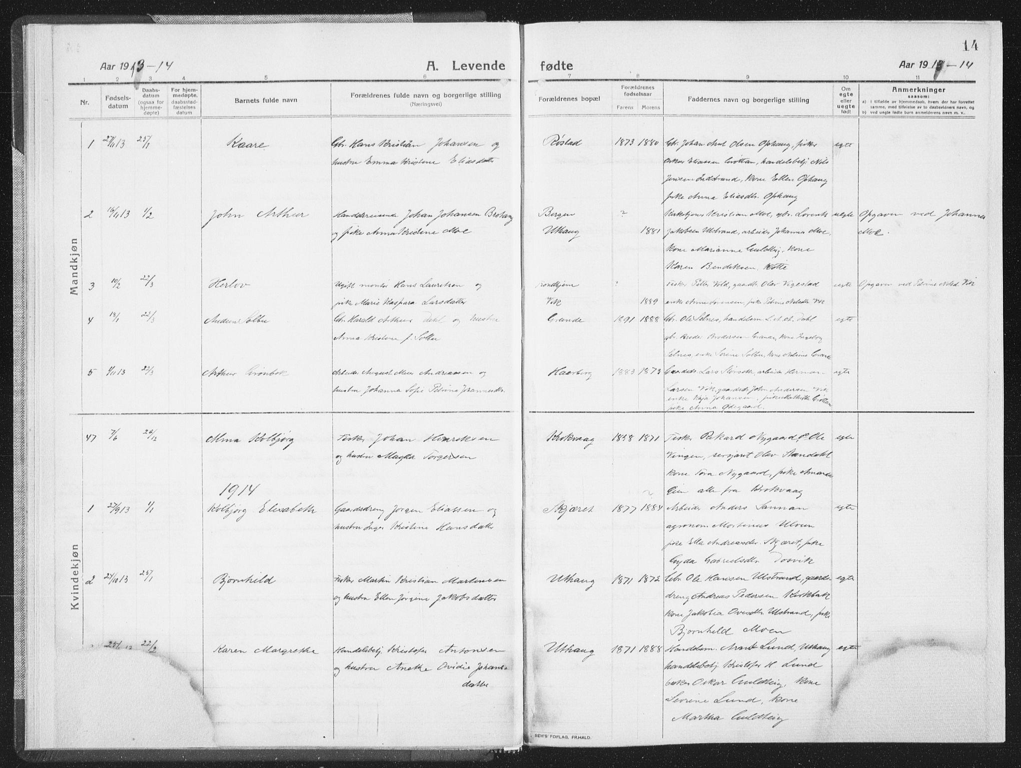 SAT, Ministerialprotokoller, klokkerbøker og fødselsregistre - Sør-Trøndelag, 659/L0747: Klokkerbok nr. 659C04, 1913-1938, s. 14
