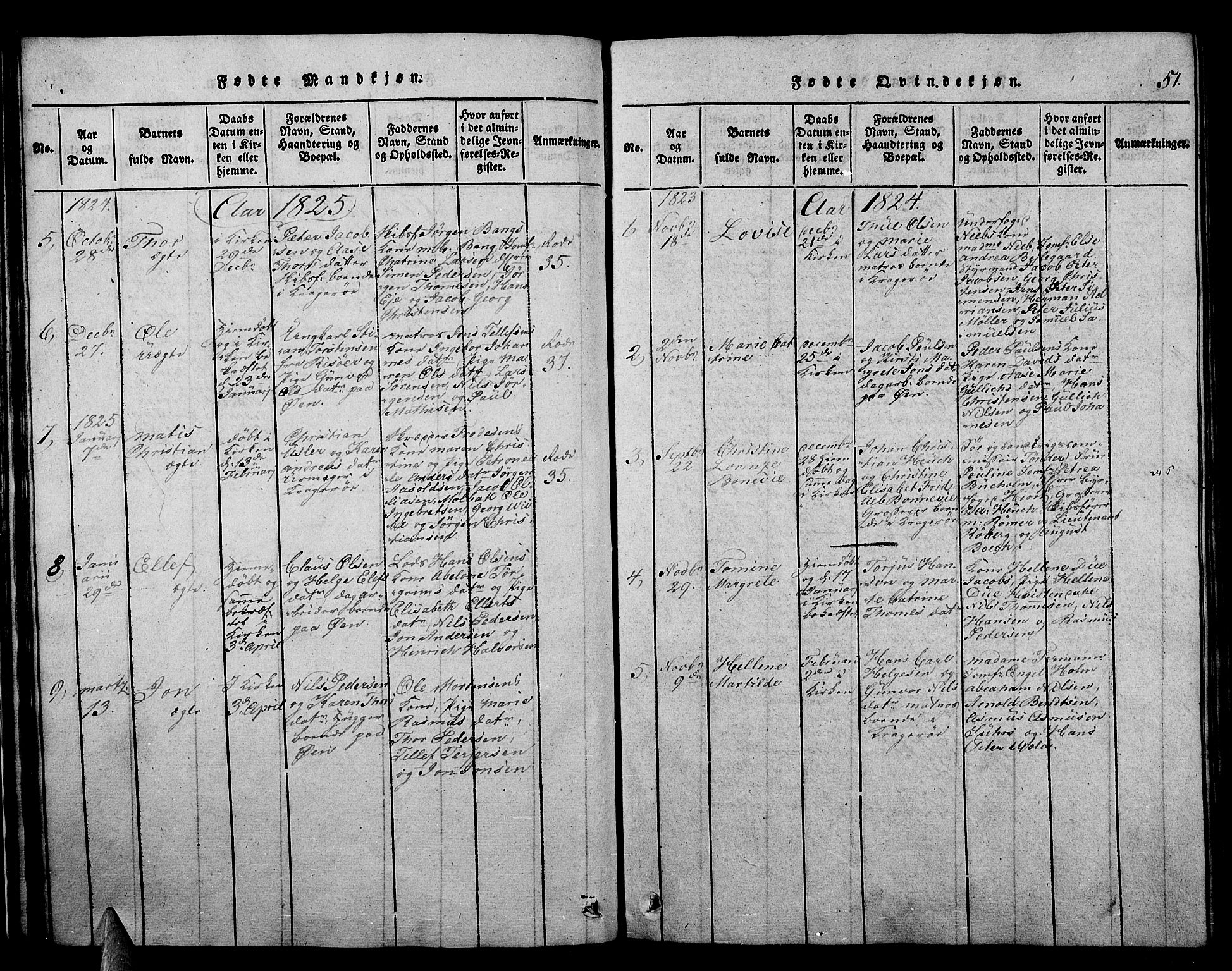 SAKO, Kragerø kirkebøker, F/Fa/L0004: Ministerialbok nr. 4, 1814-1831, s. 51