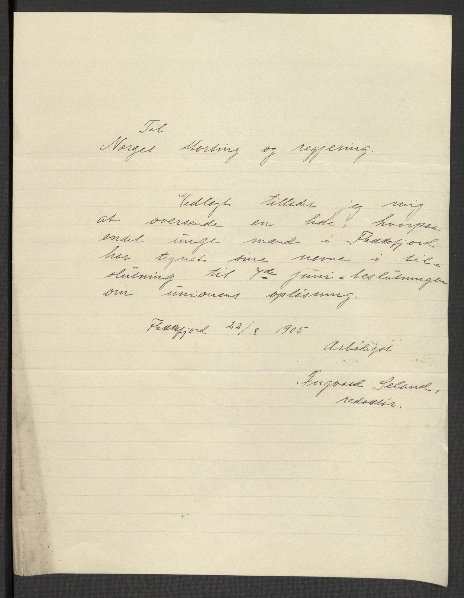 RA, Justisdepartementet, 2. sivilkontor C, F/L0125B: Folkeavstemmingen august 1905, 1905, s. 74