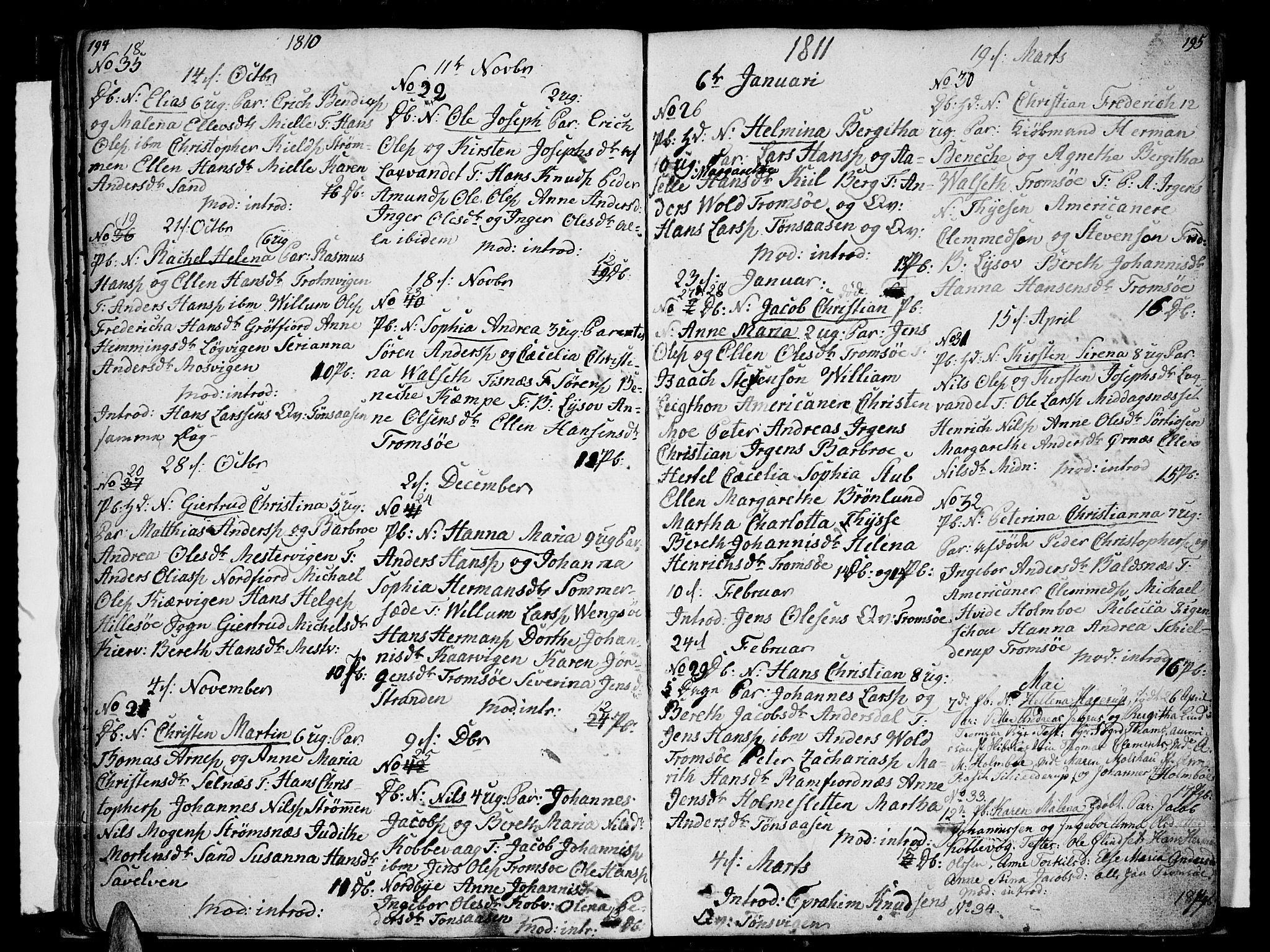 SATØ, Tromsø sokneprestkontor/stiftsprosti/domprosti, G/Ga/L0006kirke: Ministerialbok nr. 6, 1806-1821, s. 194-195