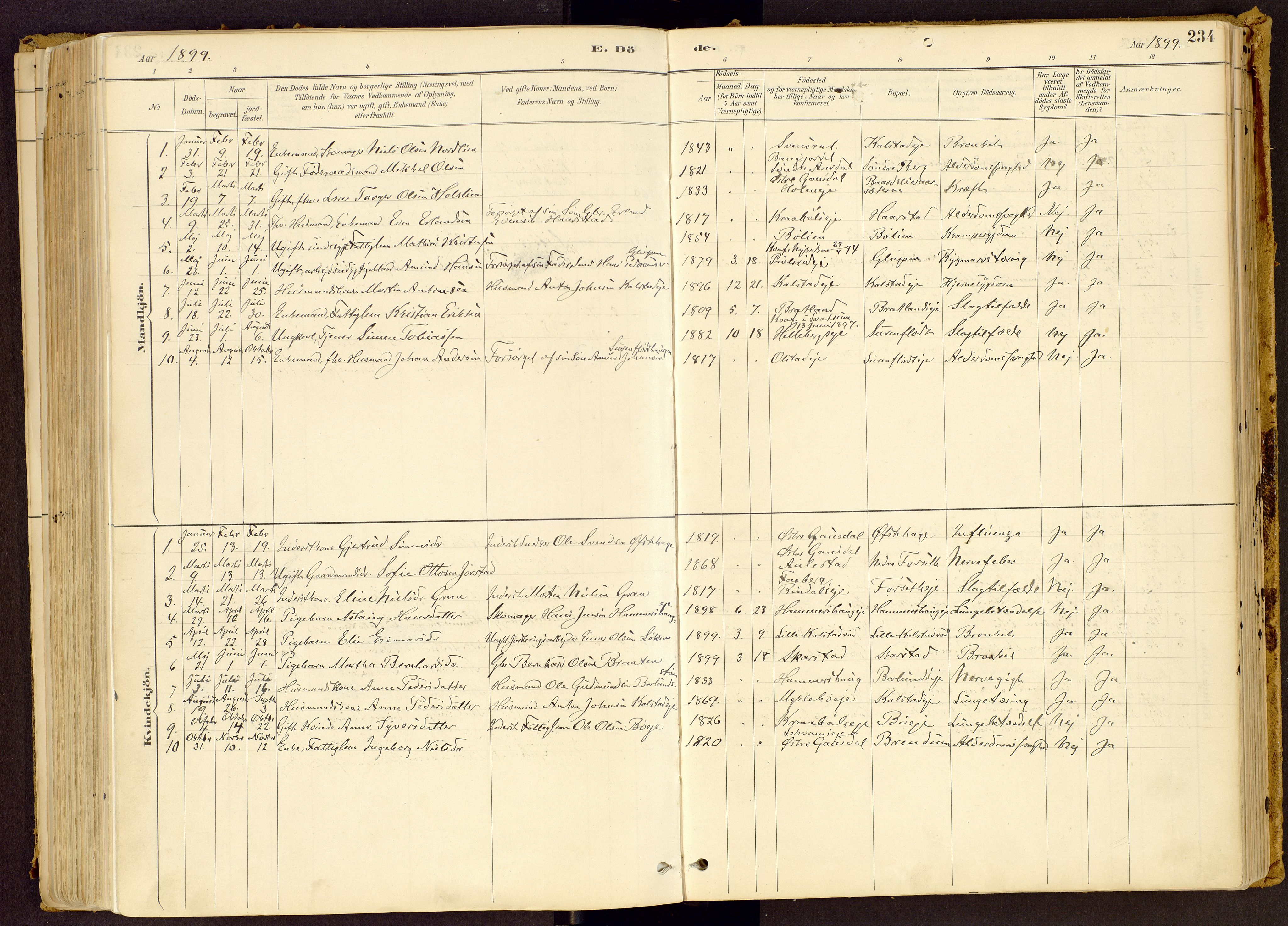 SAH, Vestre Gausdal prestekontor, Ministerialbok nr. 1, 1887-1914, s. 234