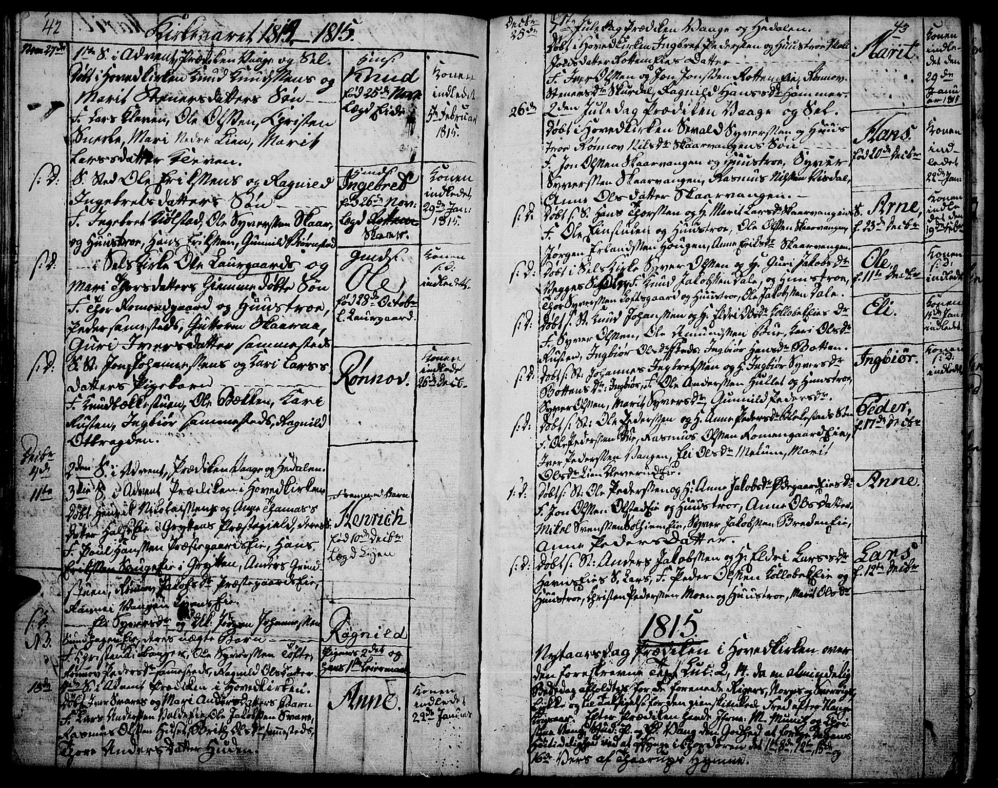 SAH, Vågå prestekontor, Ministerialbok nr. 2, 1810-1815, s. 42-43